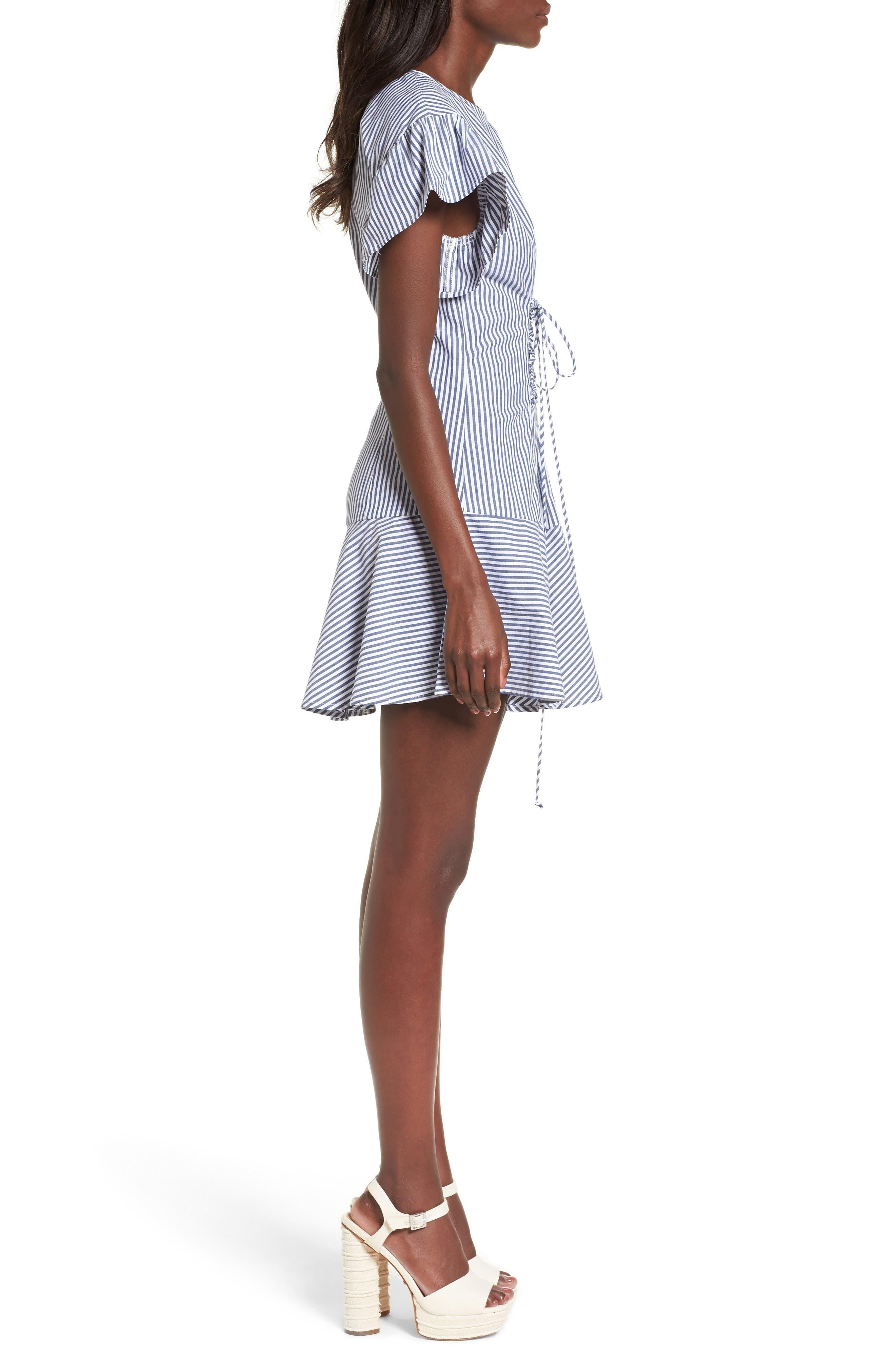 Lace-Up Minidress,                             Alternate thumbnail 3, color,                             Blue-White Stripe