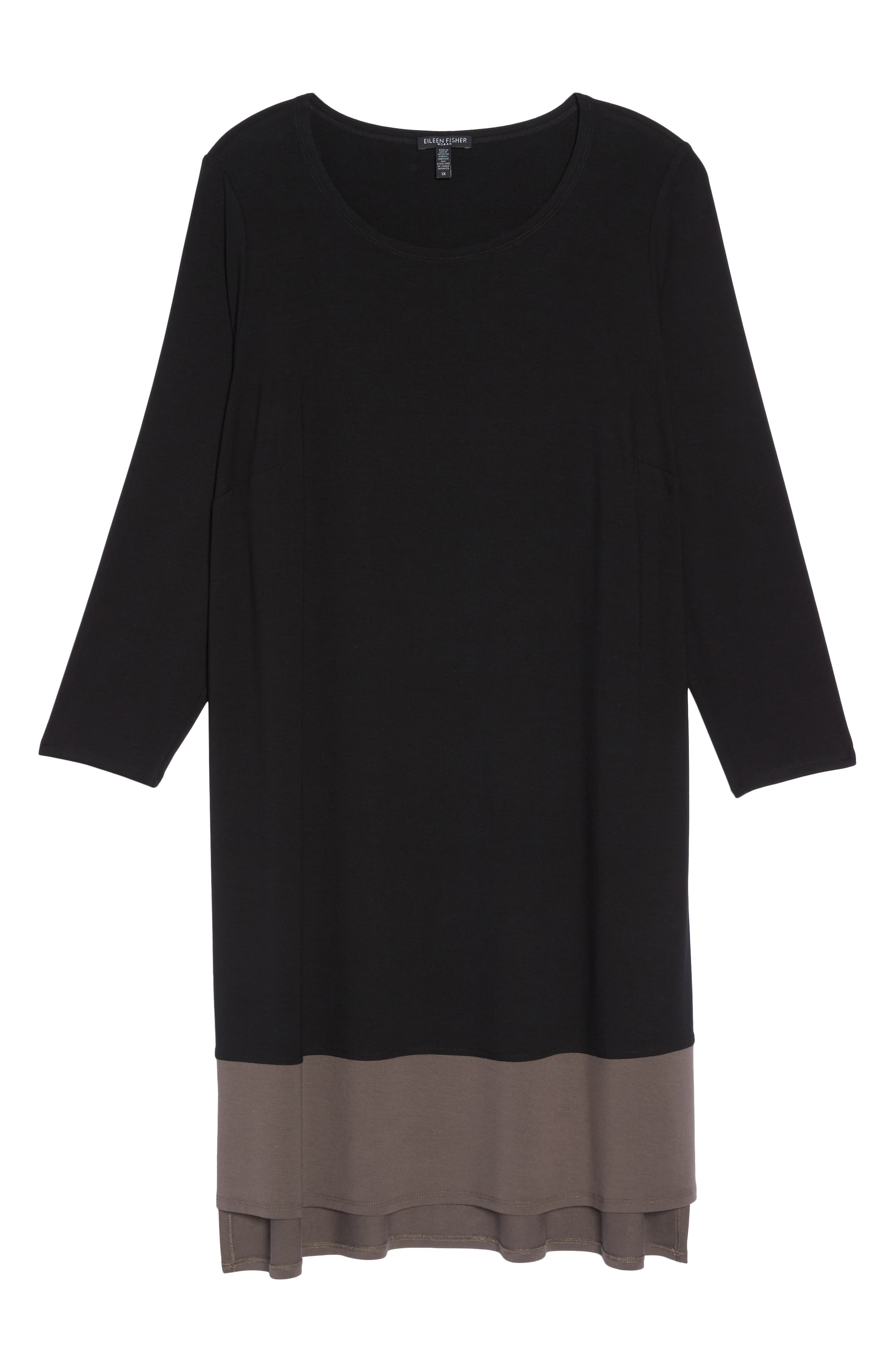Colorblock Jersey Shift Dress,                             Alternate thumbnail 6, color,                             Black