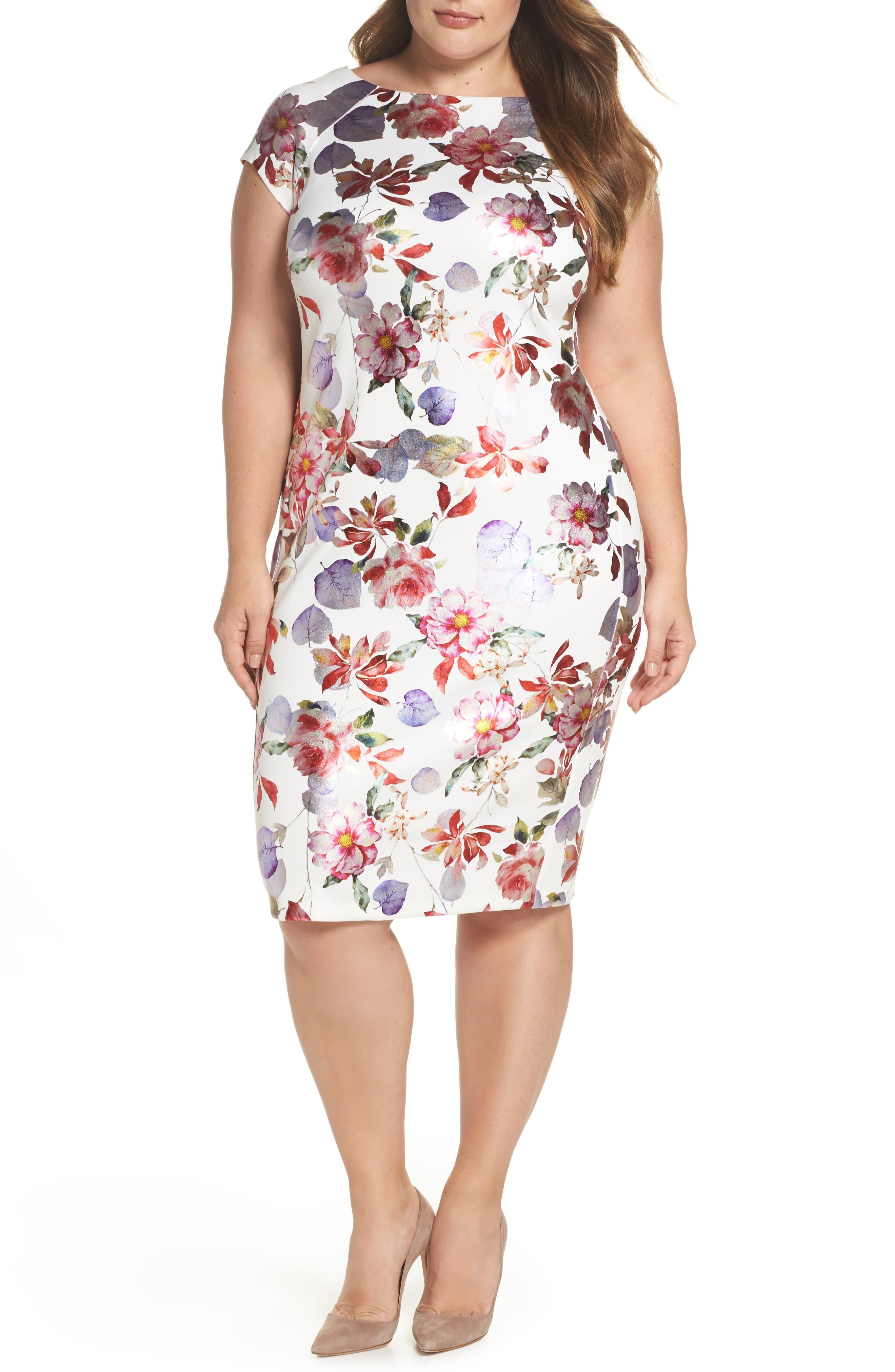 ECI Foil Print Sheath Dress (Plus Size)
