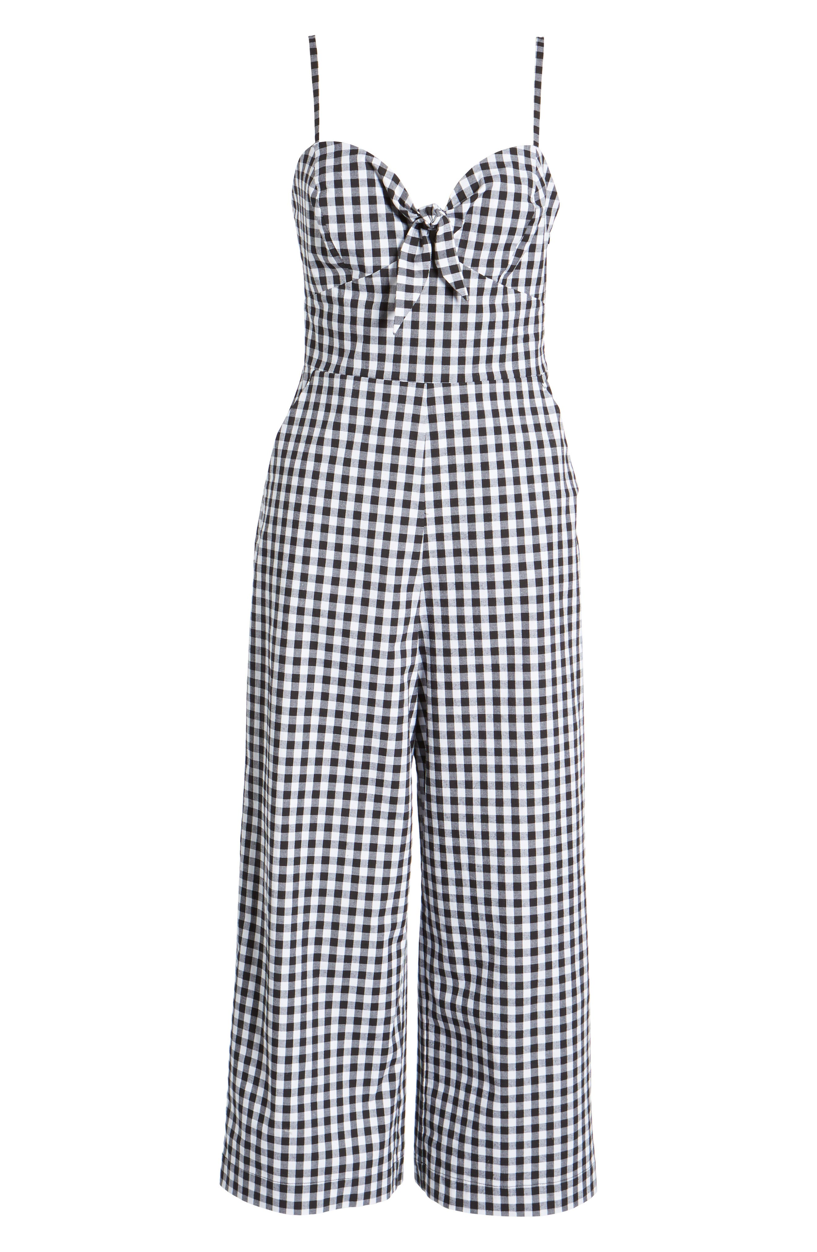 Tie Front Cropped Jumpsuit,                             Alternate thumbnail 6, color,                             Black/ White Gingham