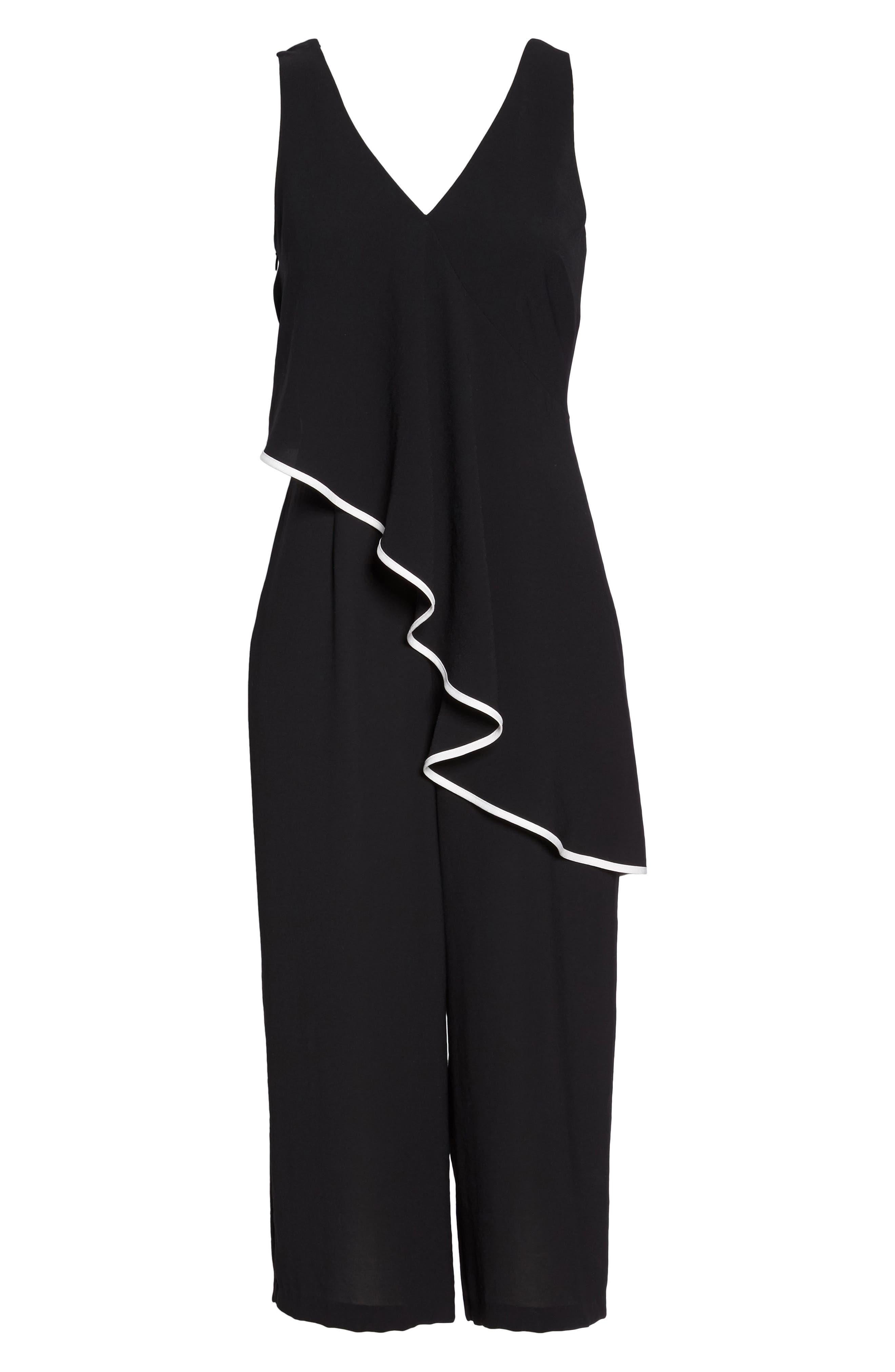 Contrast Trim Crop Jumpsuit,                             Alternate thumbnail 6, color,                             Black/ Ivory