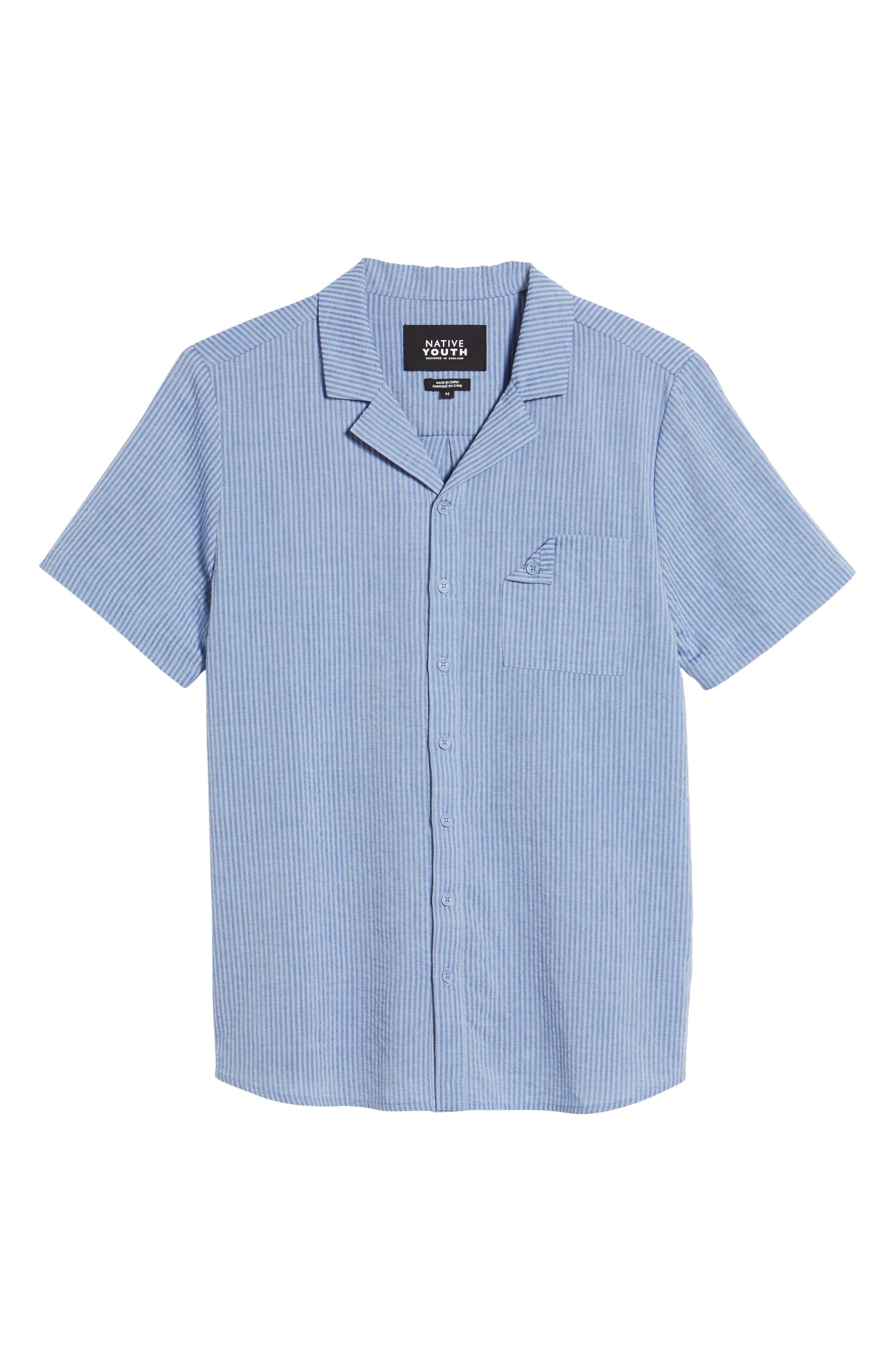 Epiphytes Woven Shirt,                             Alternate thumbnail 6, color,                             Blue