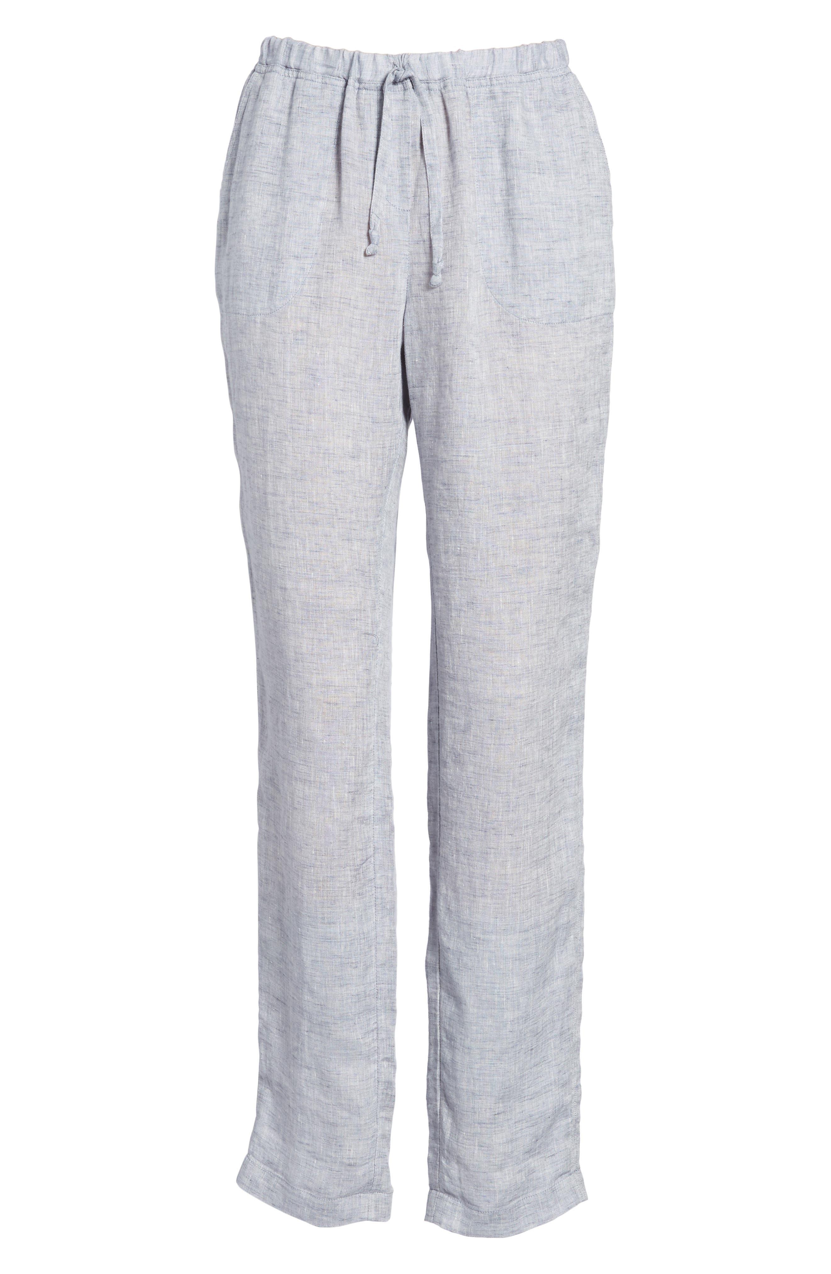Laid Back Linen Pants,                             Alternate thumbnail 7, color,                             Indigo Mix