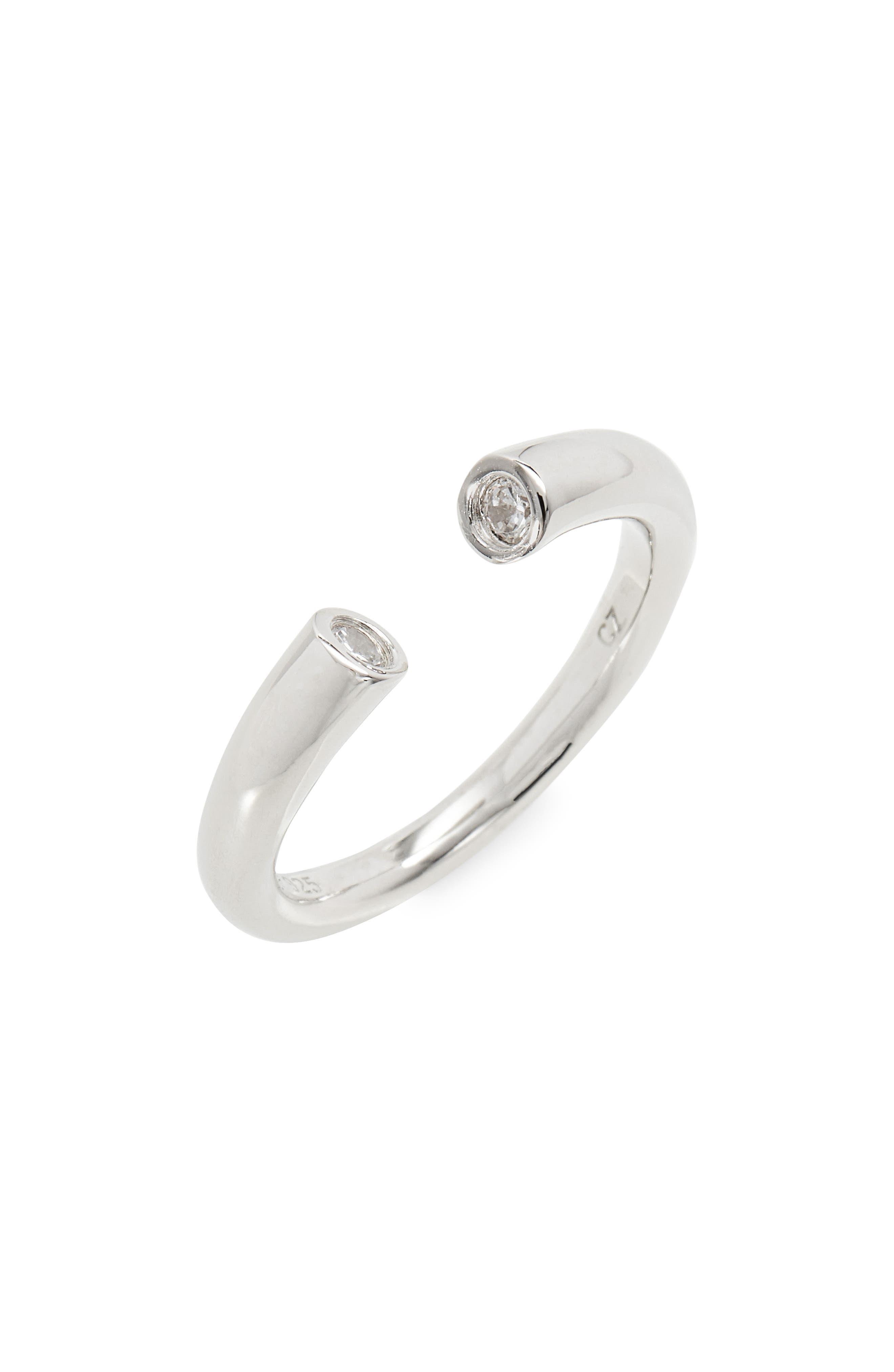Cubic Zirconia Bezel Cuff Ring,                         Main,                         color, Platinum