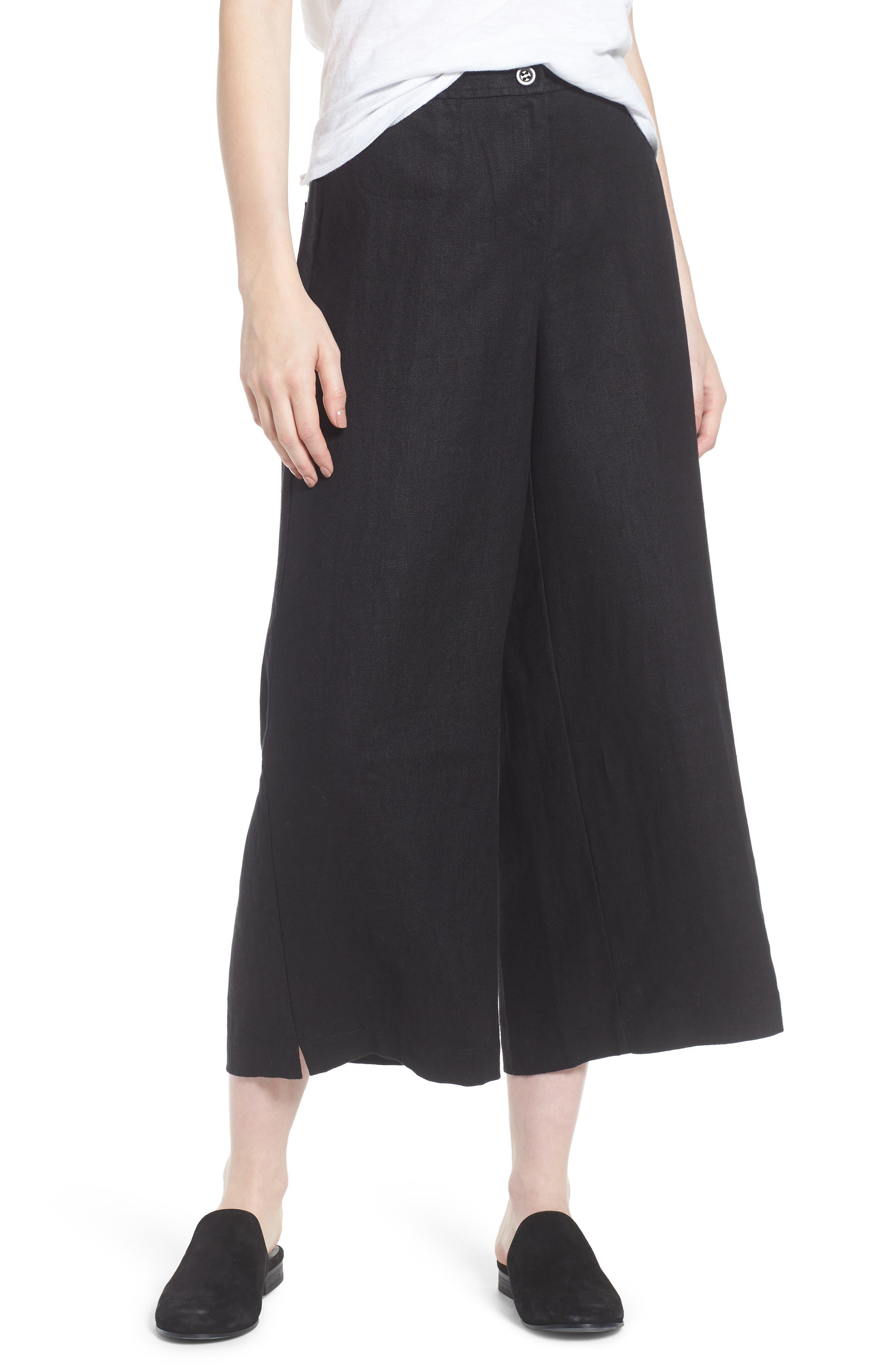 Wide Leg Organic Linen Pants,                         Main,                         color, Black