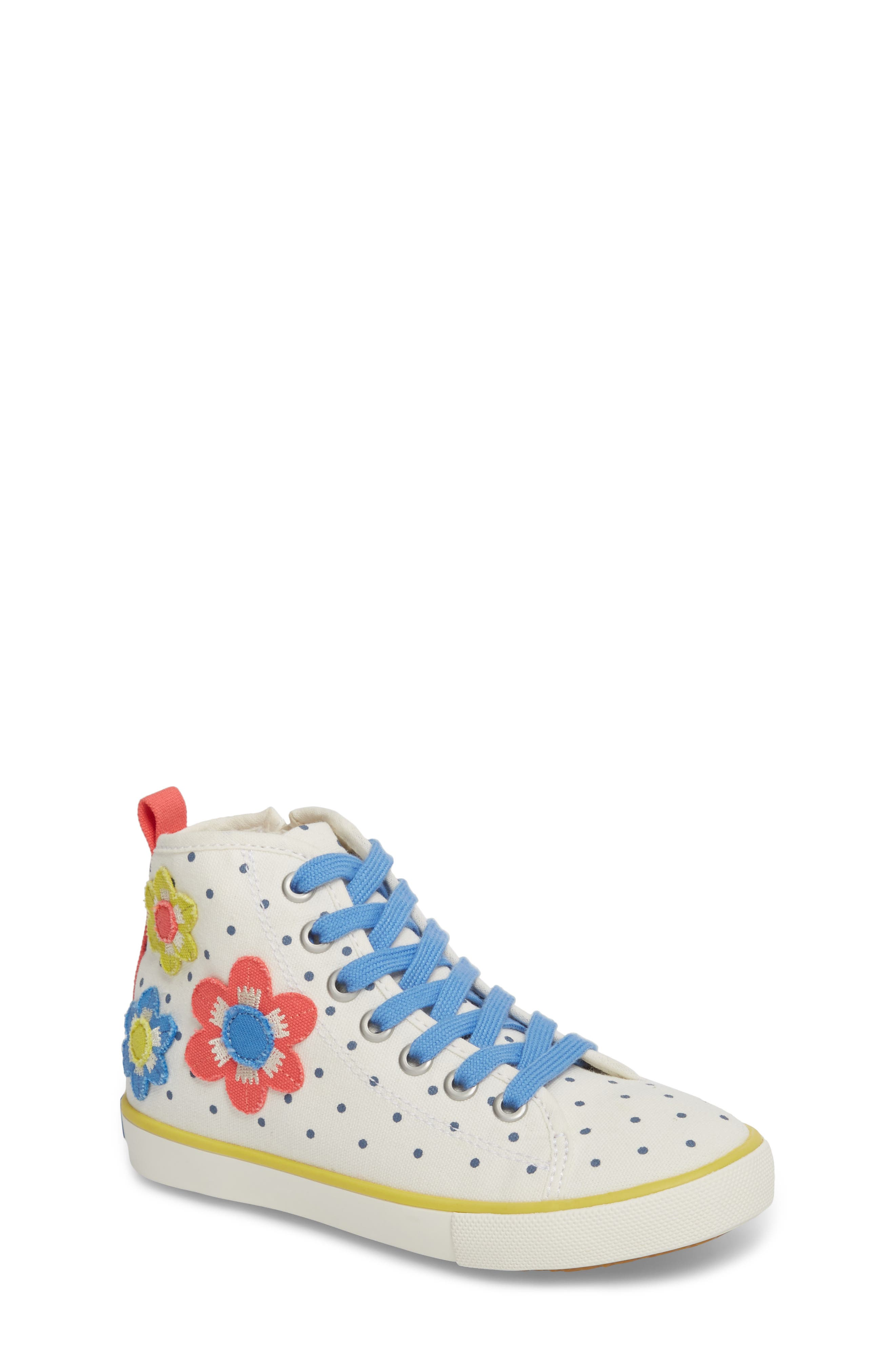 Appliqué High Top Sneaker,                             Main thumbnail 1, color,                             Ecru Flowers
