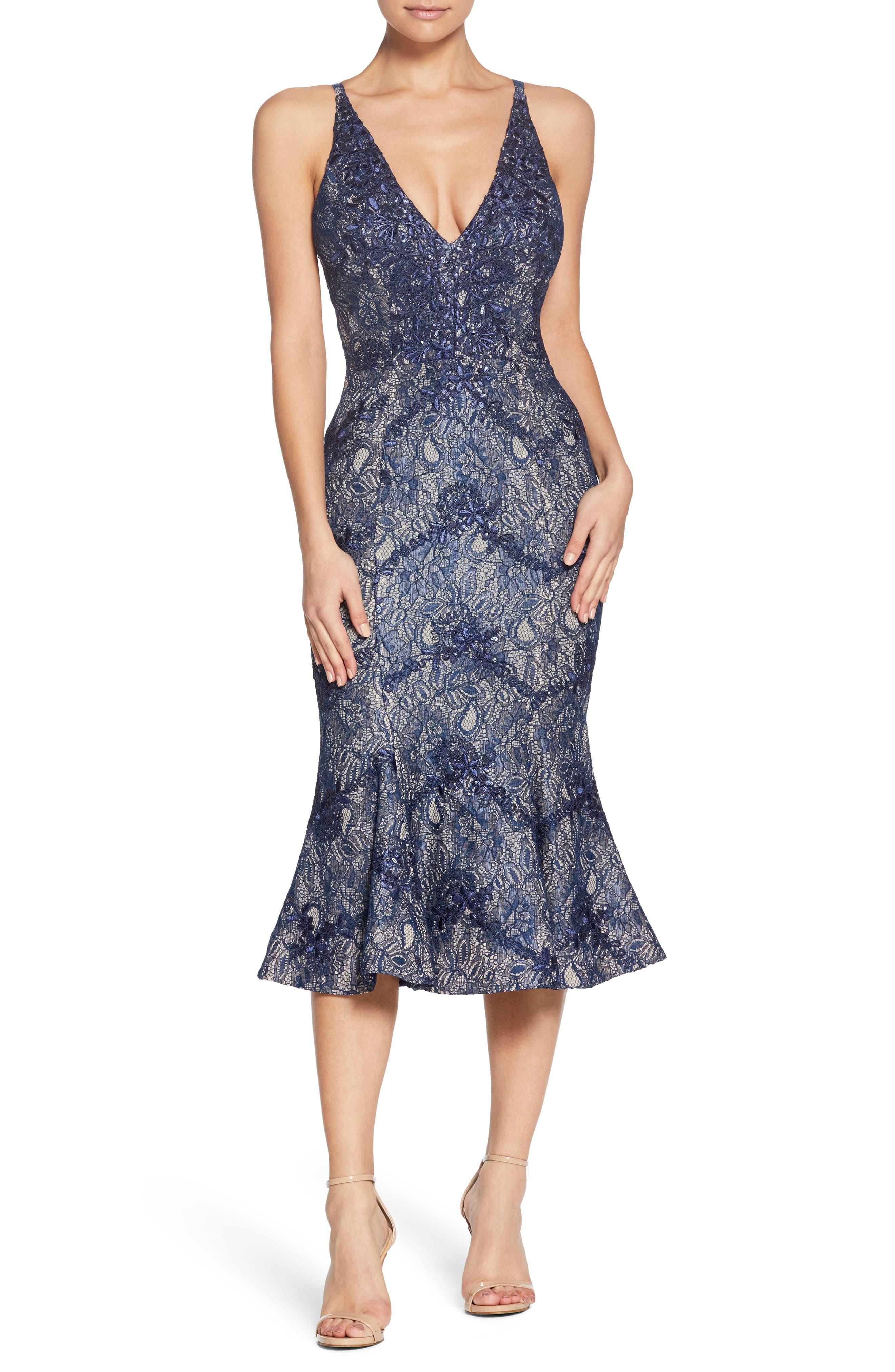 Isabelle Plunge Neck Lace Trumpet Dress,                         Main,                         color, Navy/ Nude