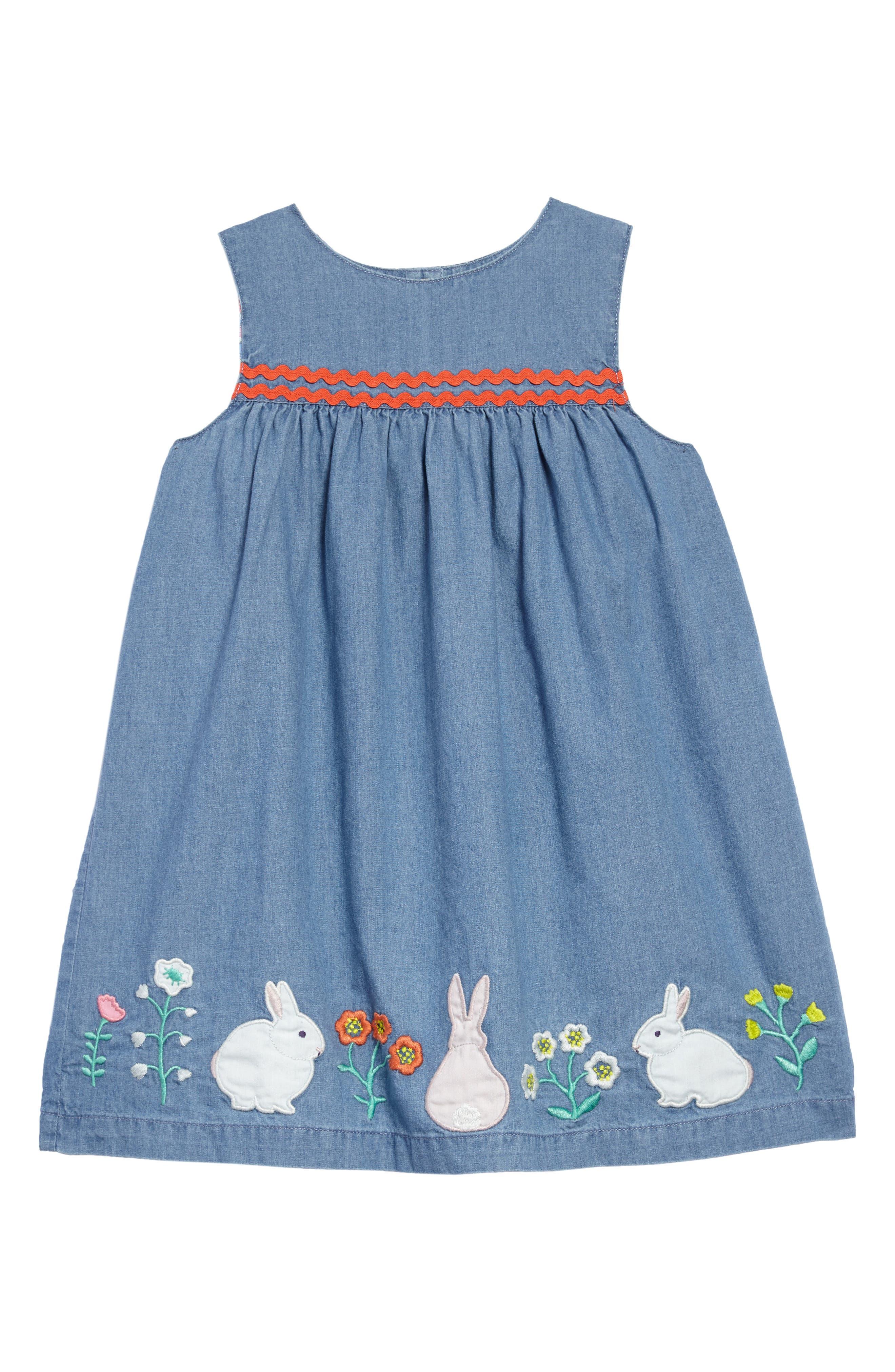 Woven Appliqué Dress,                             Main thumbnail 1, color,                             Chambray Flowers