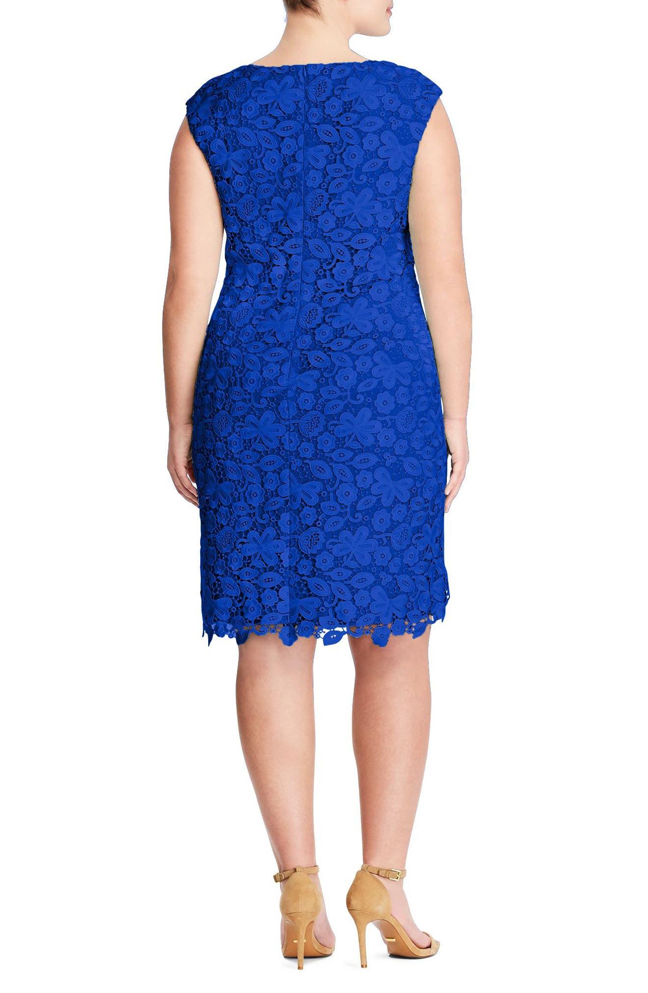 Montie Lace Sheath Dress,                             Alternate thumbnail 2, color,                             Deep Lapis