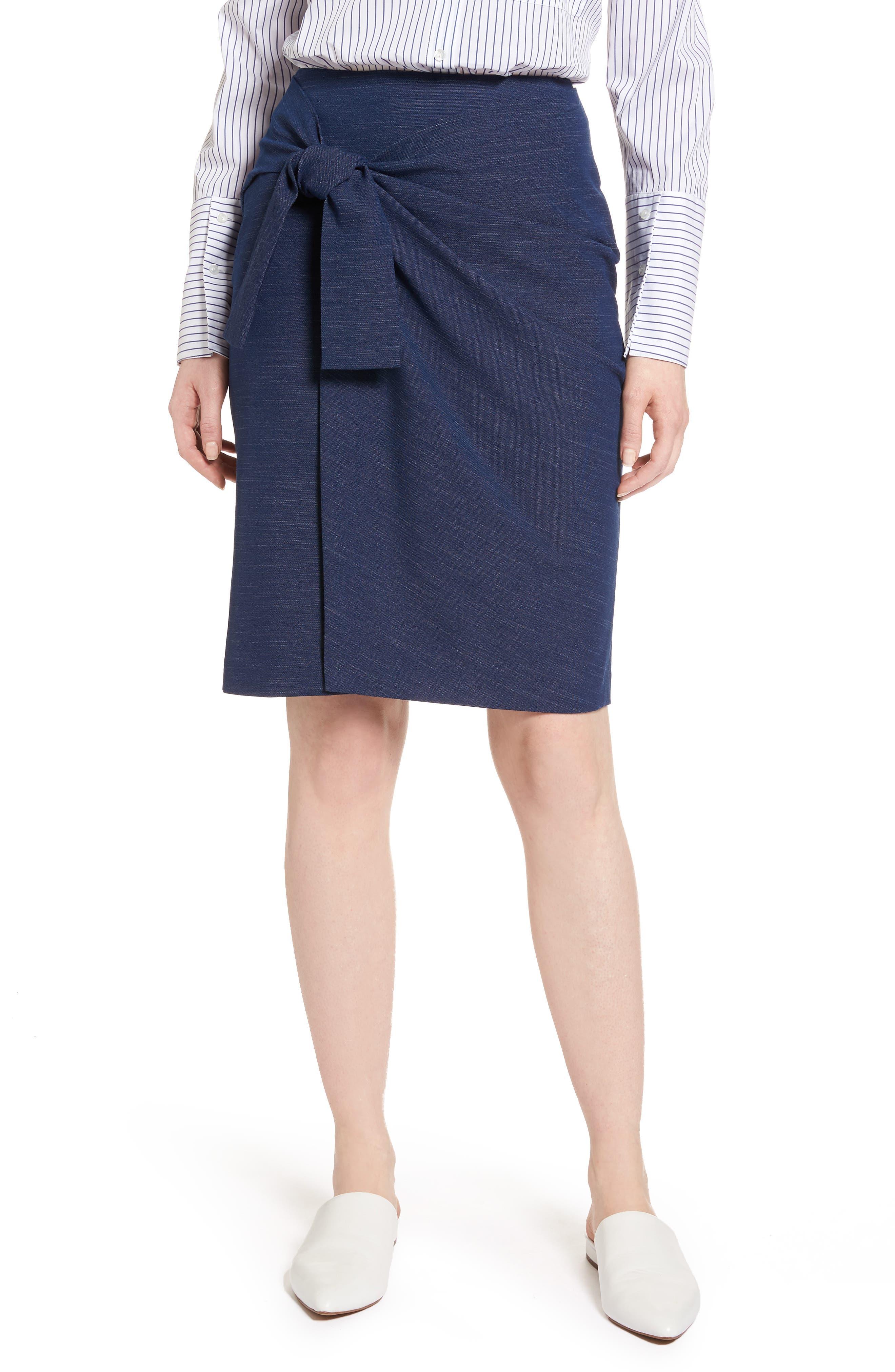 Side Tie Pencil Skirt,                             Main thumbnail 1, color,                             Dark Chambray