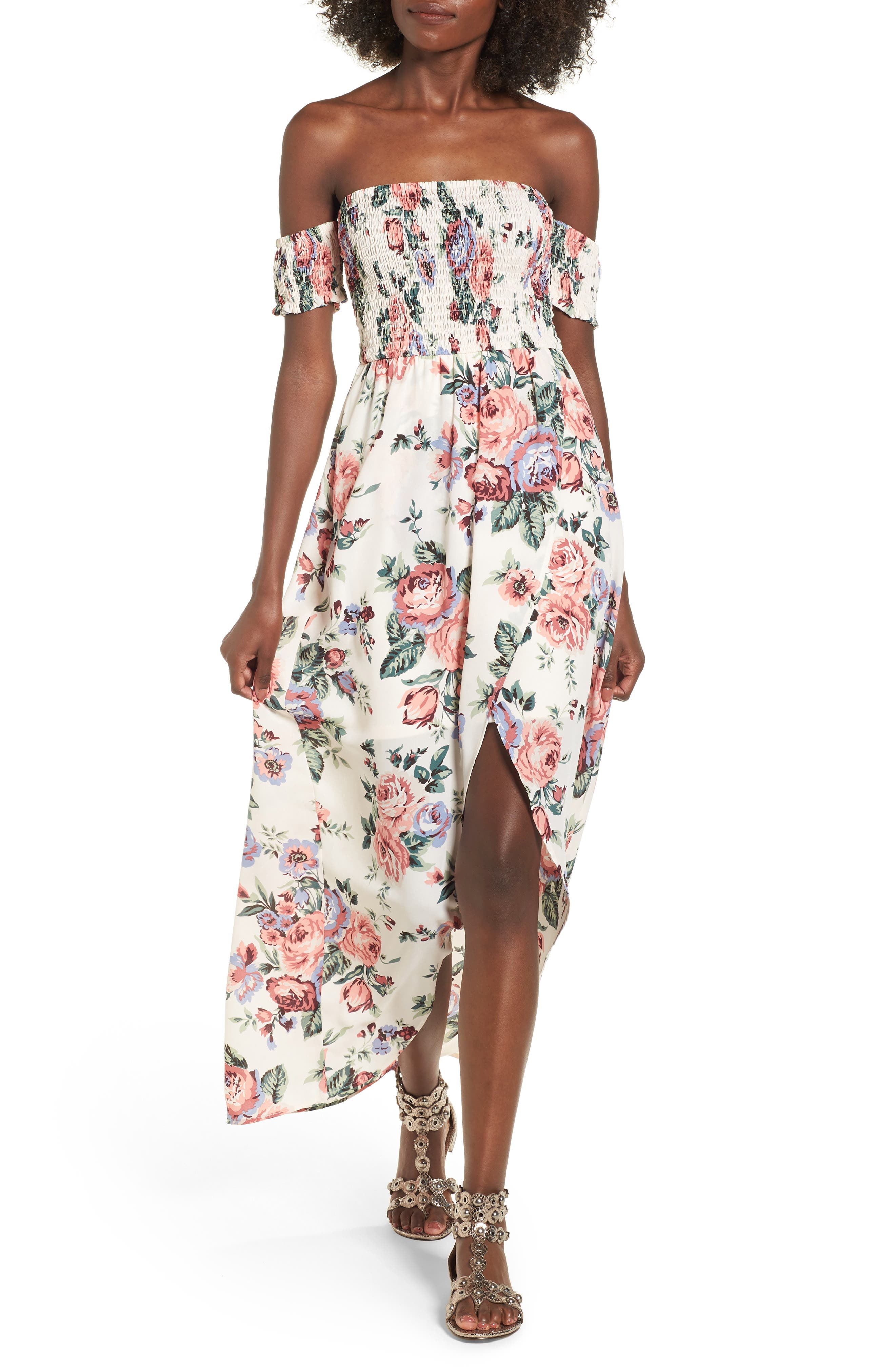 Mimi Chica Off the Shoulder High/Low Maxi Dress