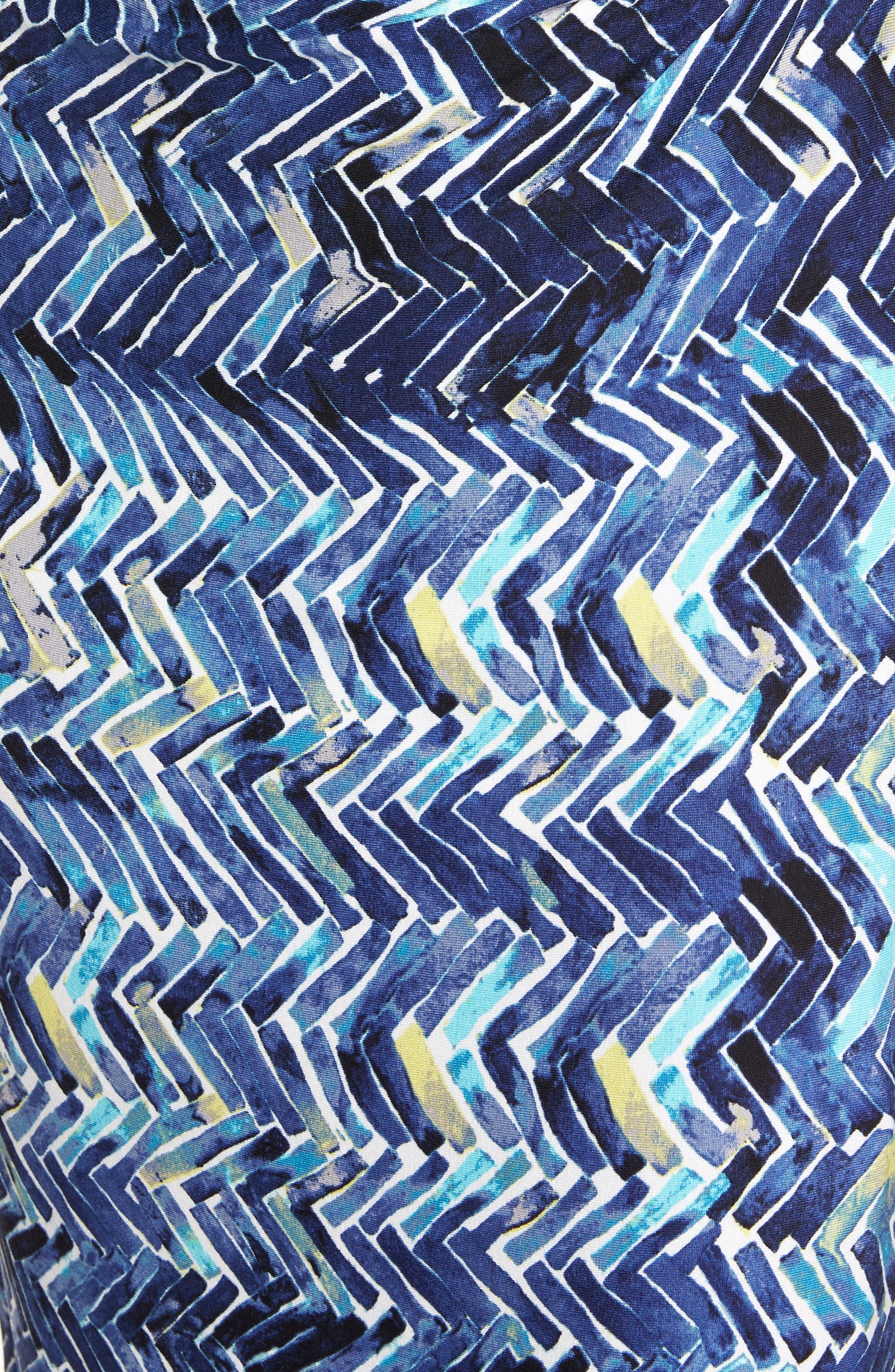Seaside Tile Ruched Sheath Dress,                             Alternate thumbnail 5, color,                             Multi