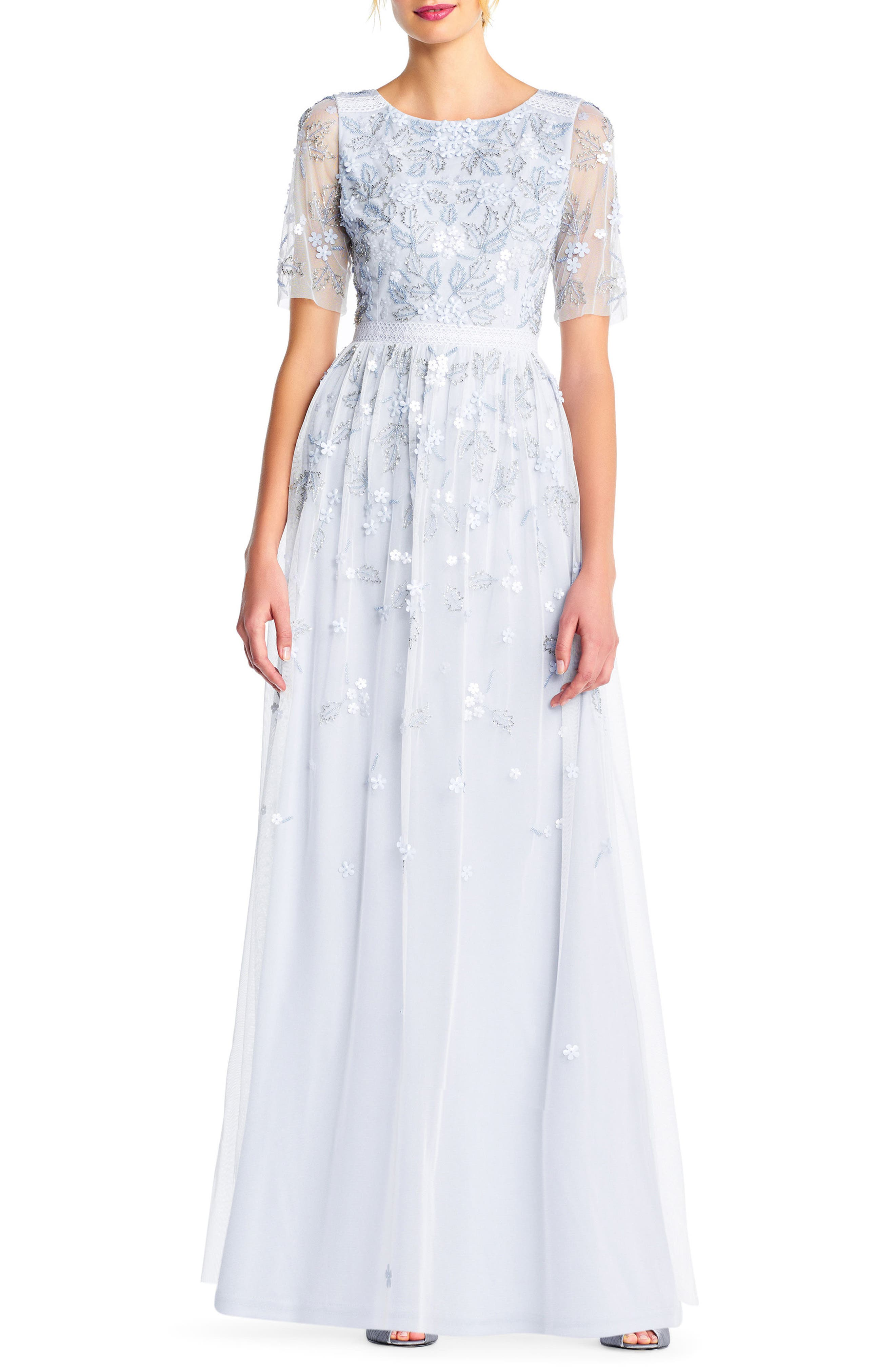 Beaded A-Line Gown,                         Main,                         color, Serenity