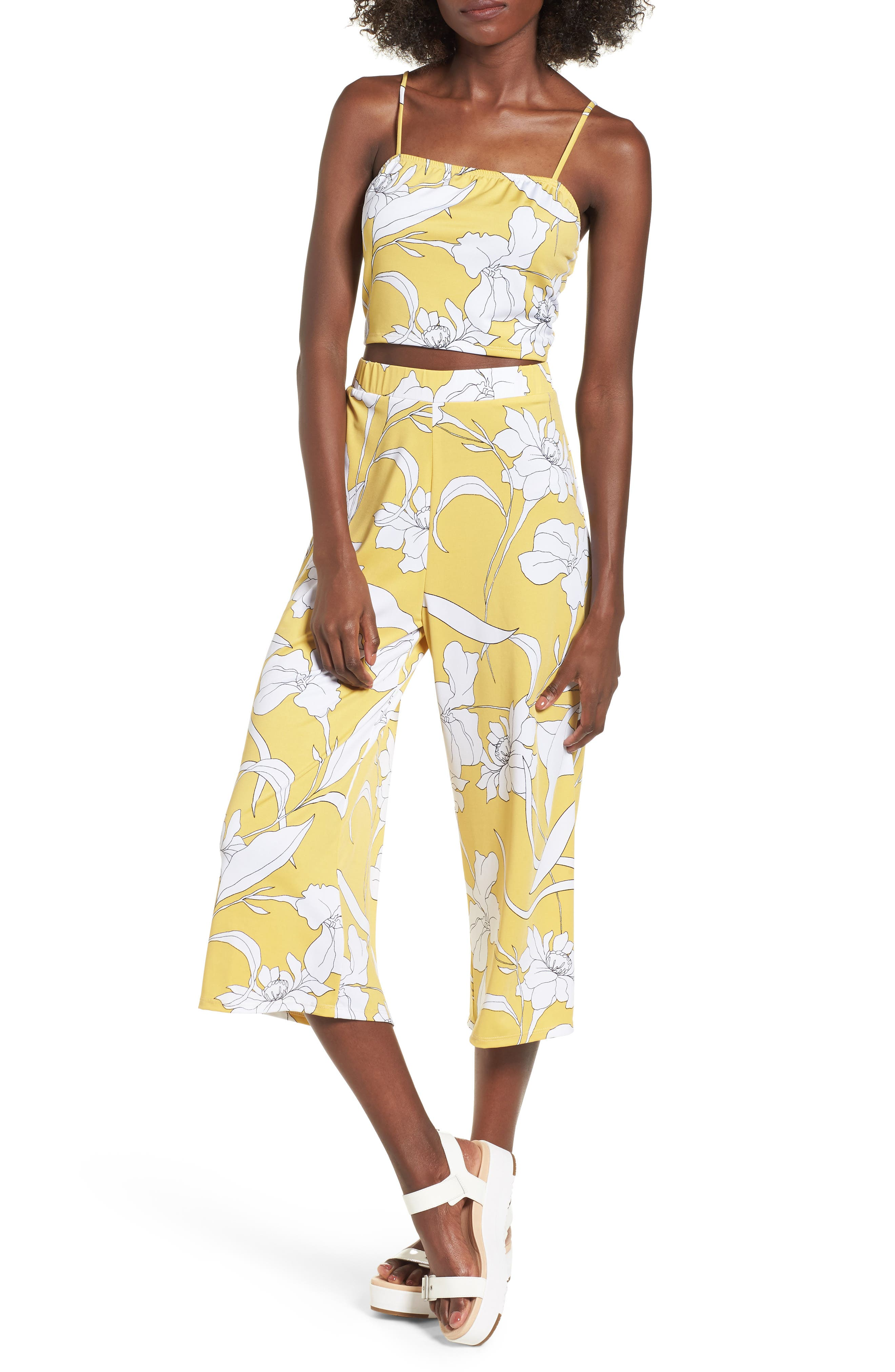 Floral Print Wide Leg Crop Pants,                         Main,                         color, Yellow Floral