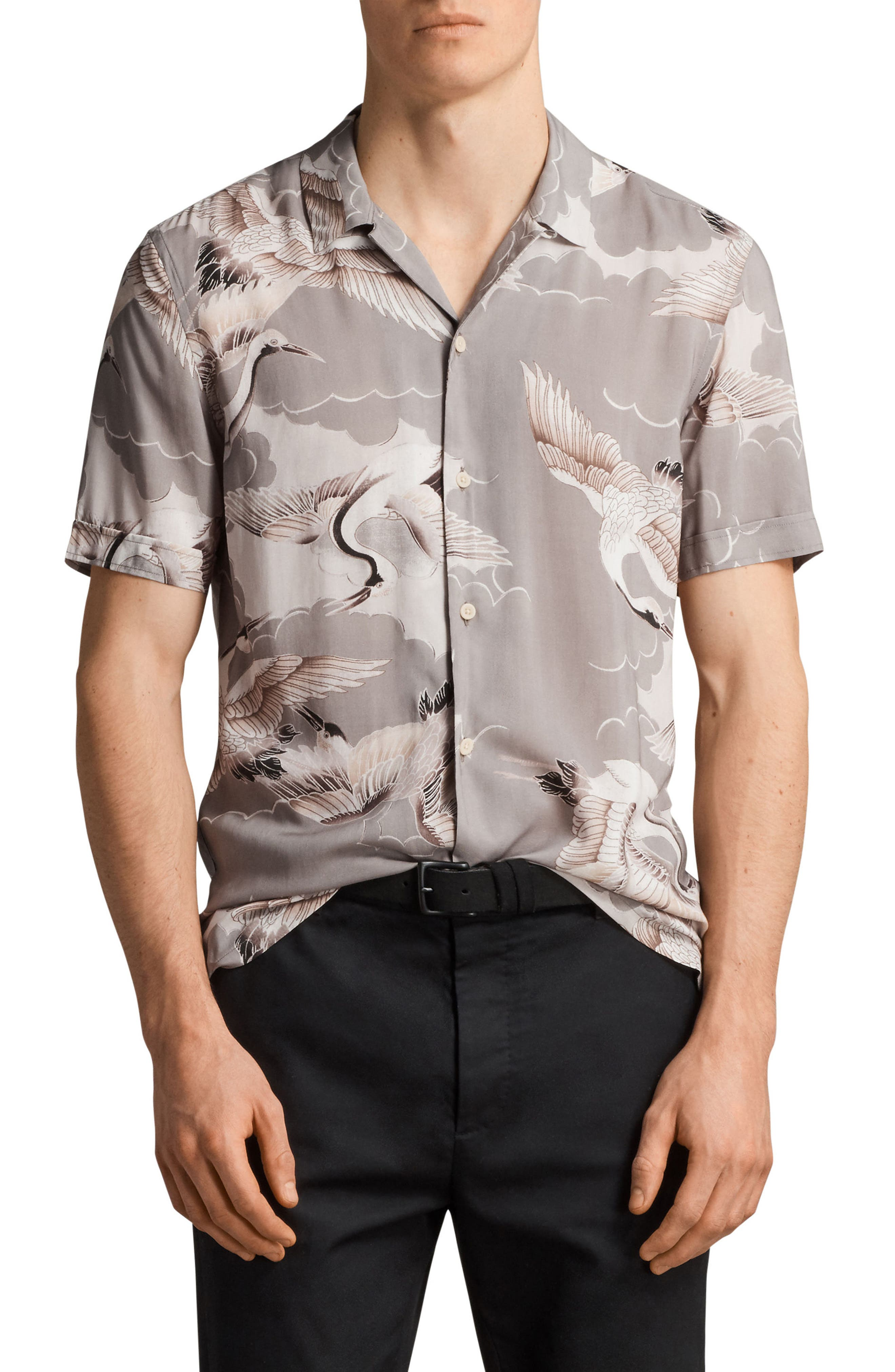 Main Image - ALLSAINTS Romanji Slim Fit Short Sleeve Sport Shirt