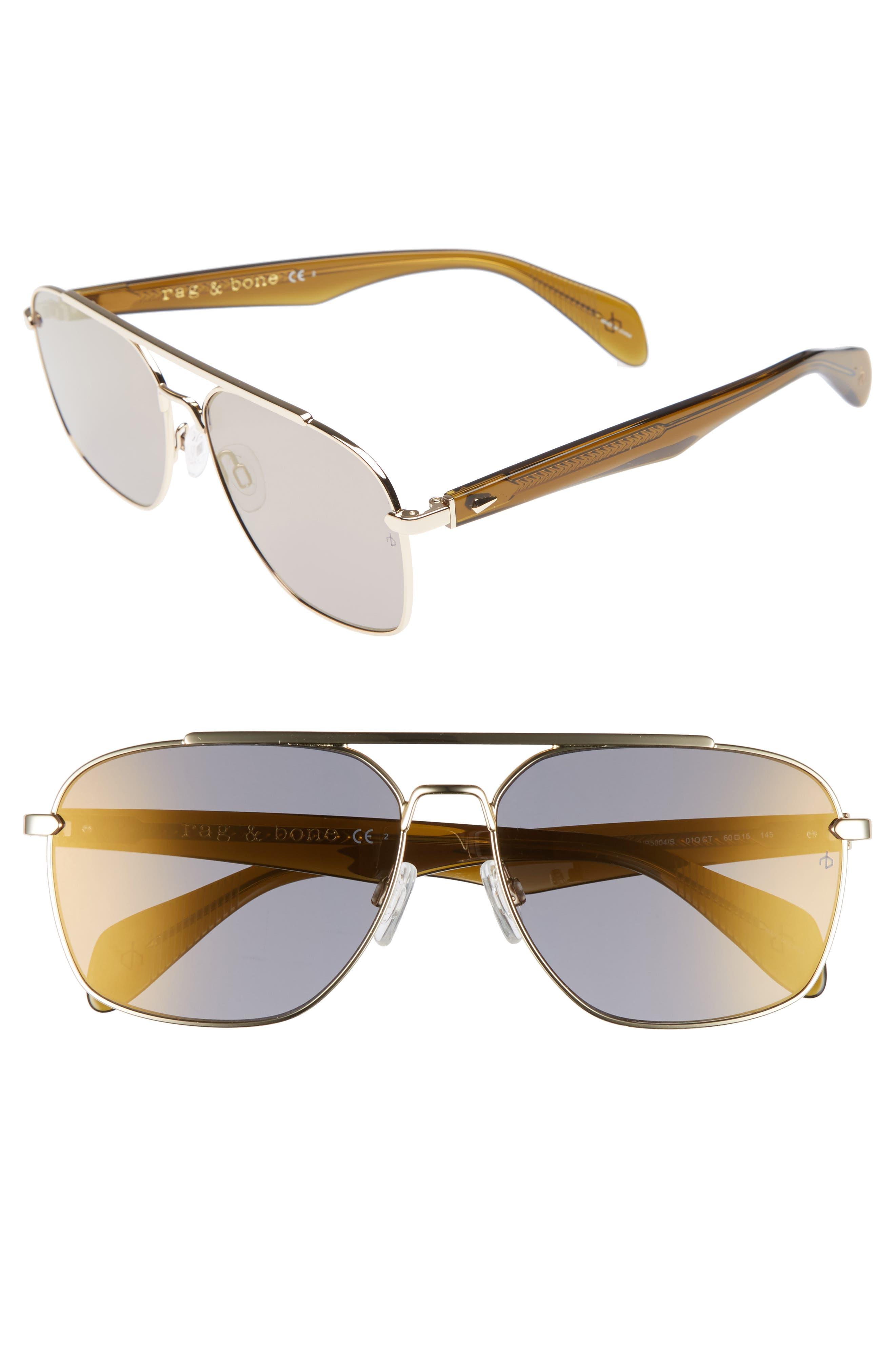 60mm Navigator Sunglasses,                         Main,                         color, Gold Brown