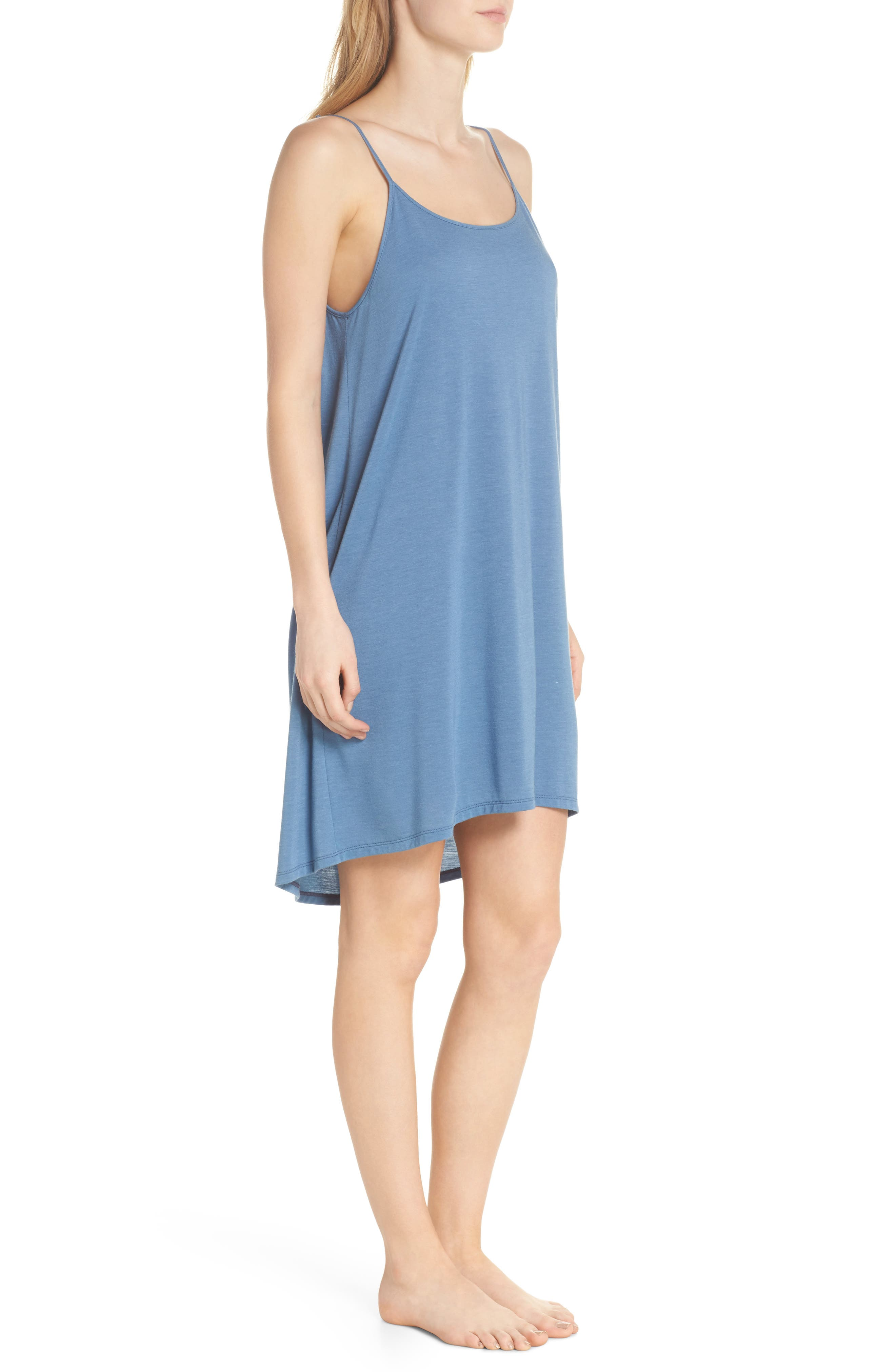 Heather Tees Chemise,                             Alternate thumbnail 3, color,                             Bsq Ht Blue Shadow