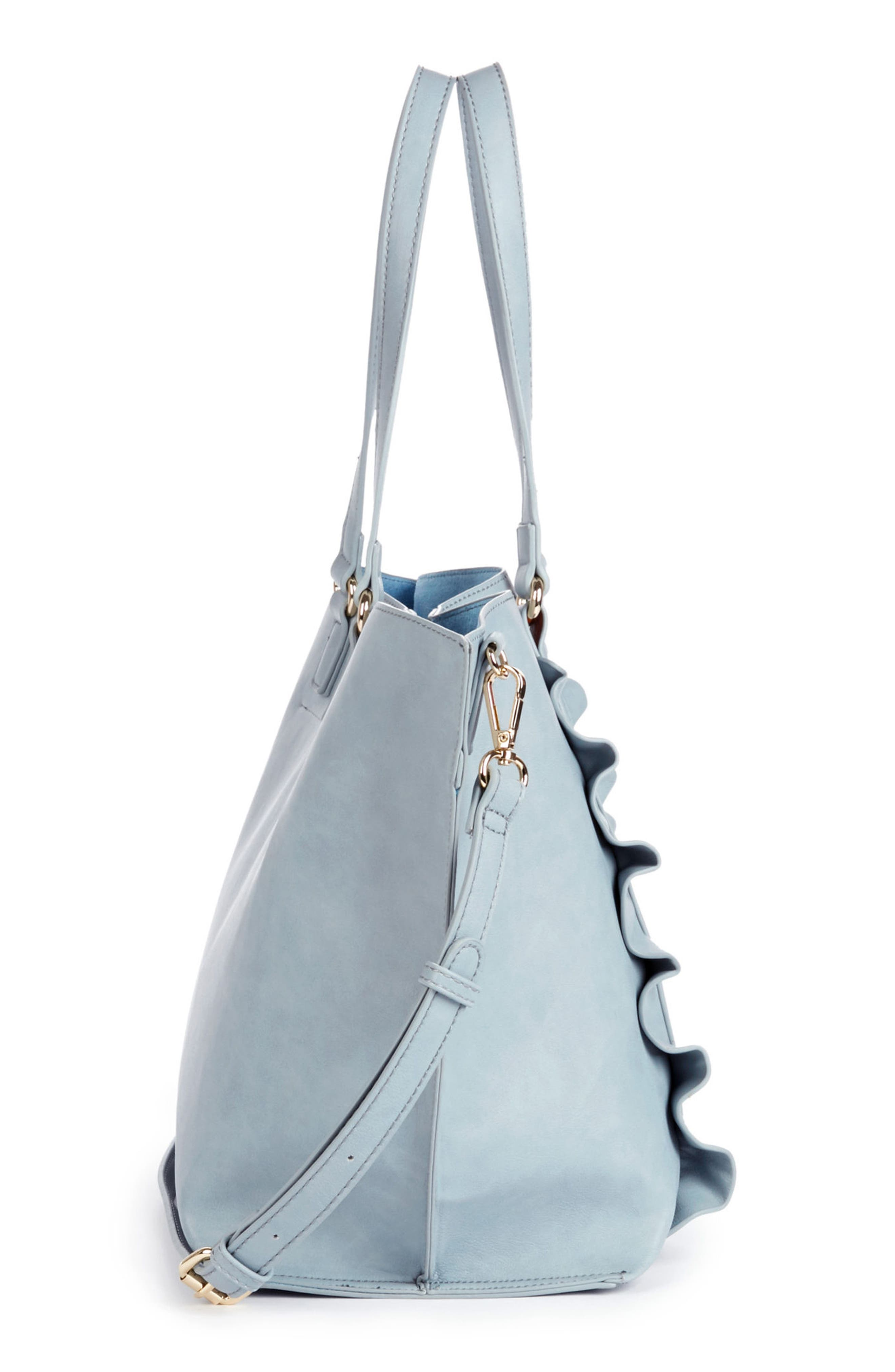 Adelina Ruffled Faux Leather Tote,                             Alternate thumbnail 5, color,                             Powder Blue
