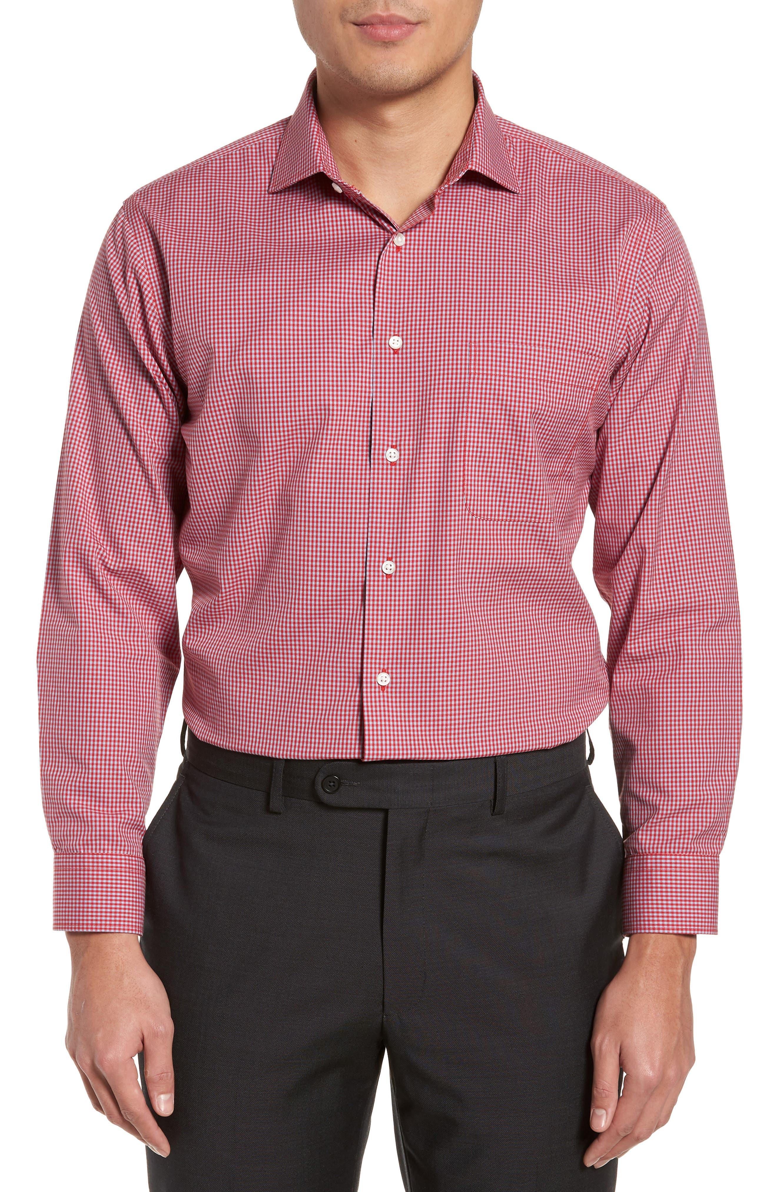 Smartcare<sup>™</sup> Trim Fit Check Dress Shirt,                         Main,                         color, Red Barbados