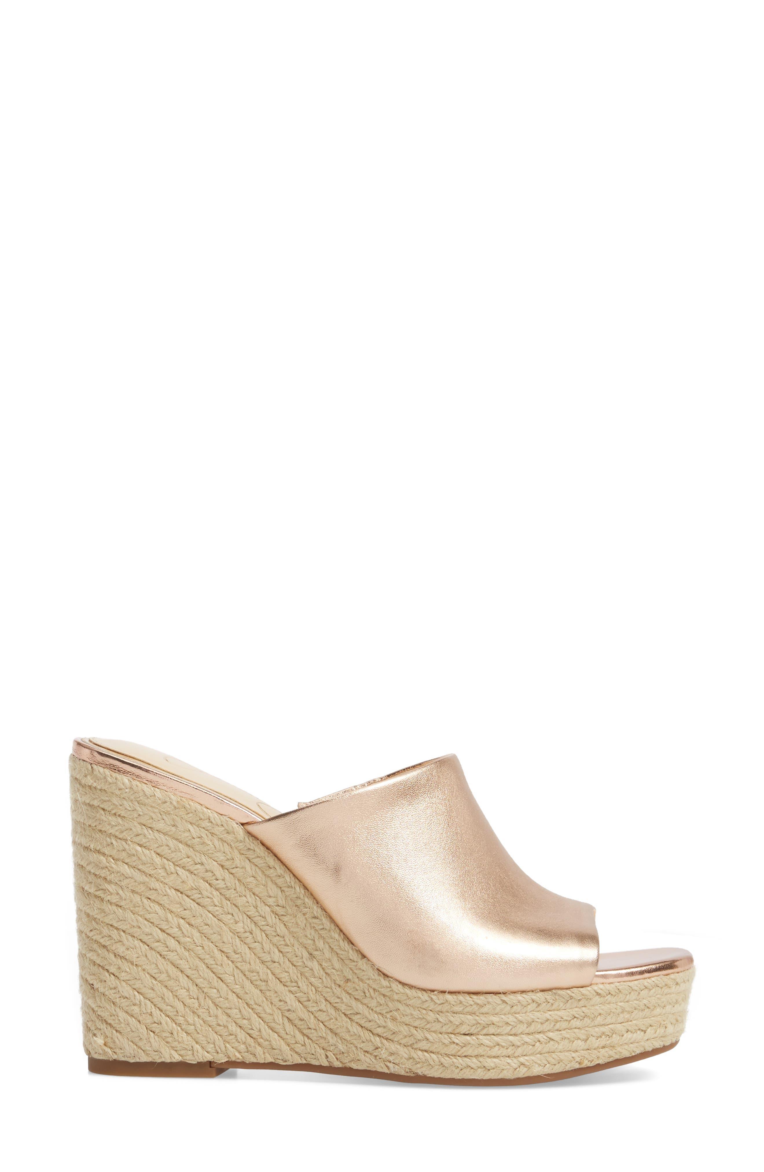 Sirella Platform Wedge Slide Sandal,                             Alternate thumbnail 3, color,                             Pale Rose Go