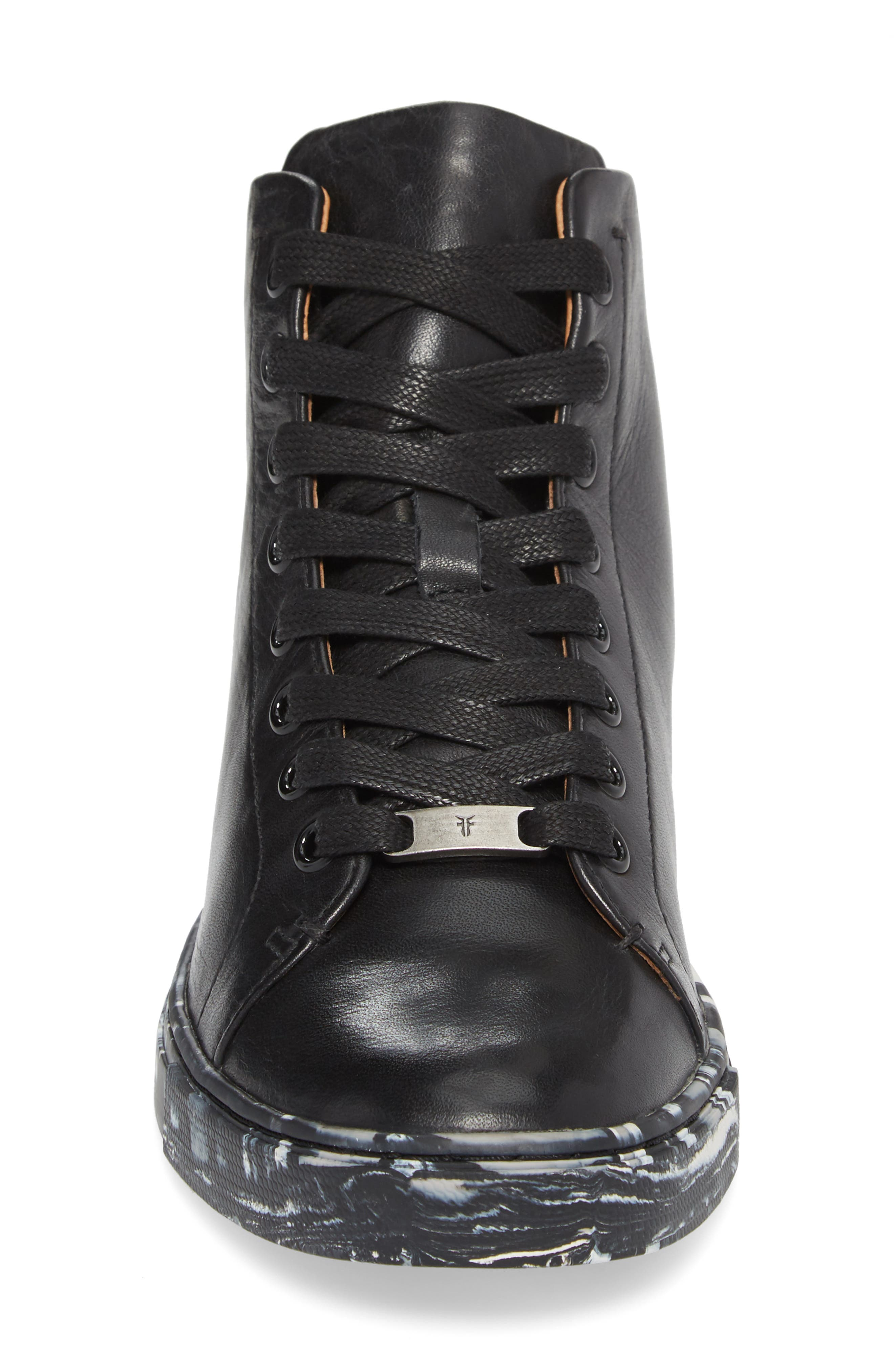 Ivy High Top Sneaker,                             Alternate thumbnail 4, color,                             Black Leather
