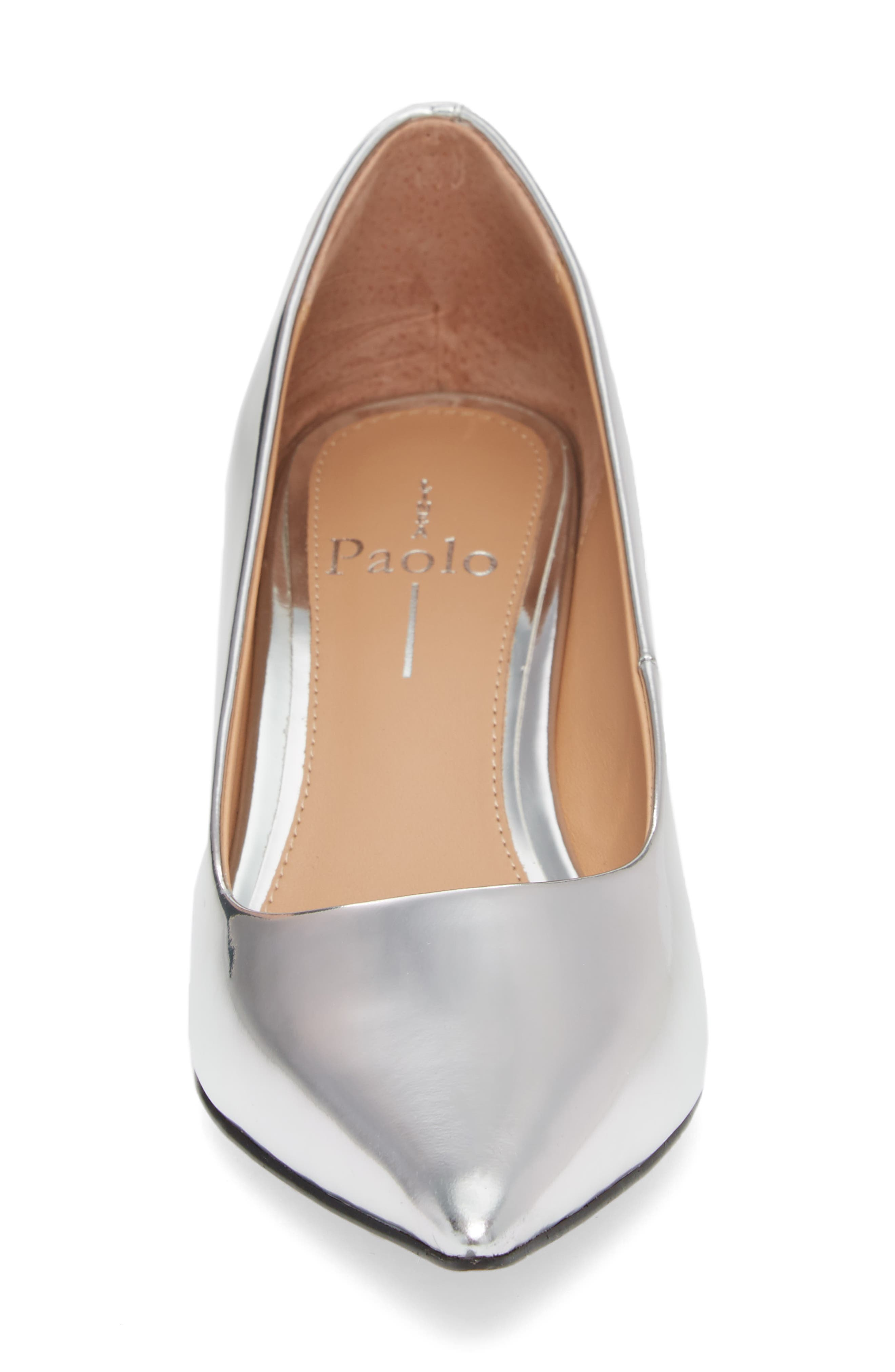 Petra Pointy Toe Pump,                             Alternate thumbnail 4, color,                             Silver Leather