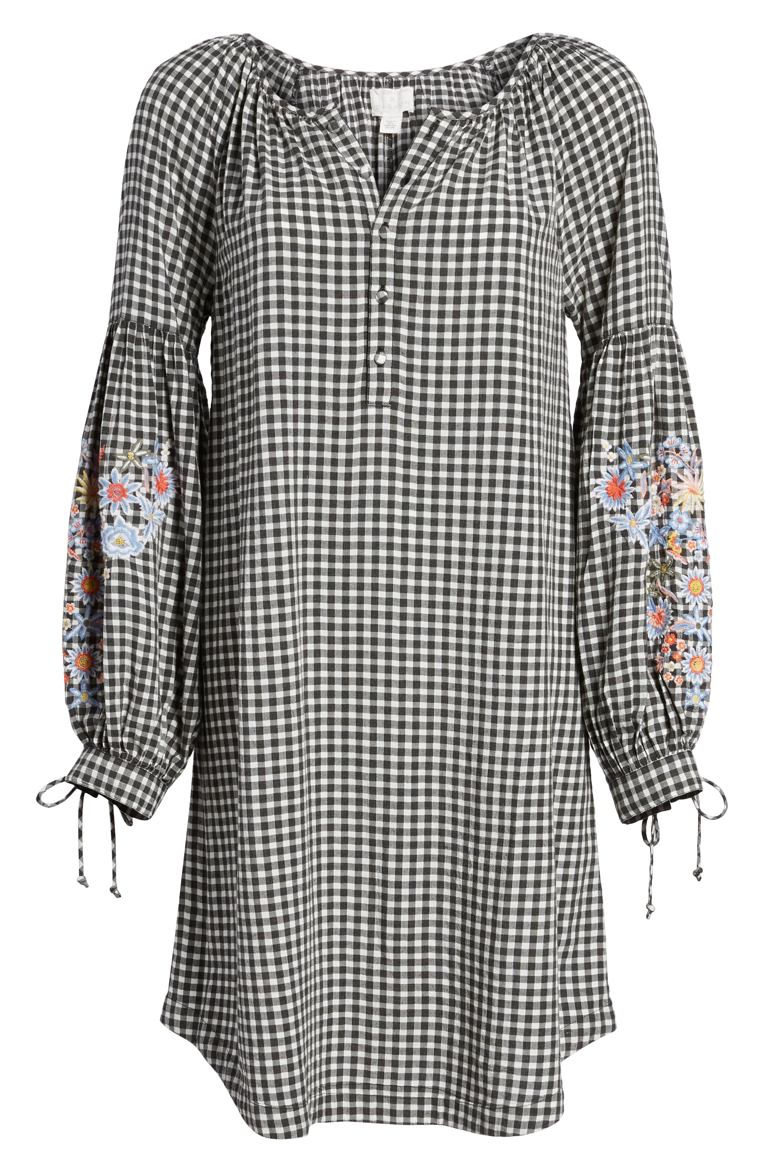 Embroidered Sleeve Shift Dress,                             Alternate thumbnail 6, color,                             Black-White Gingham