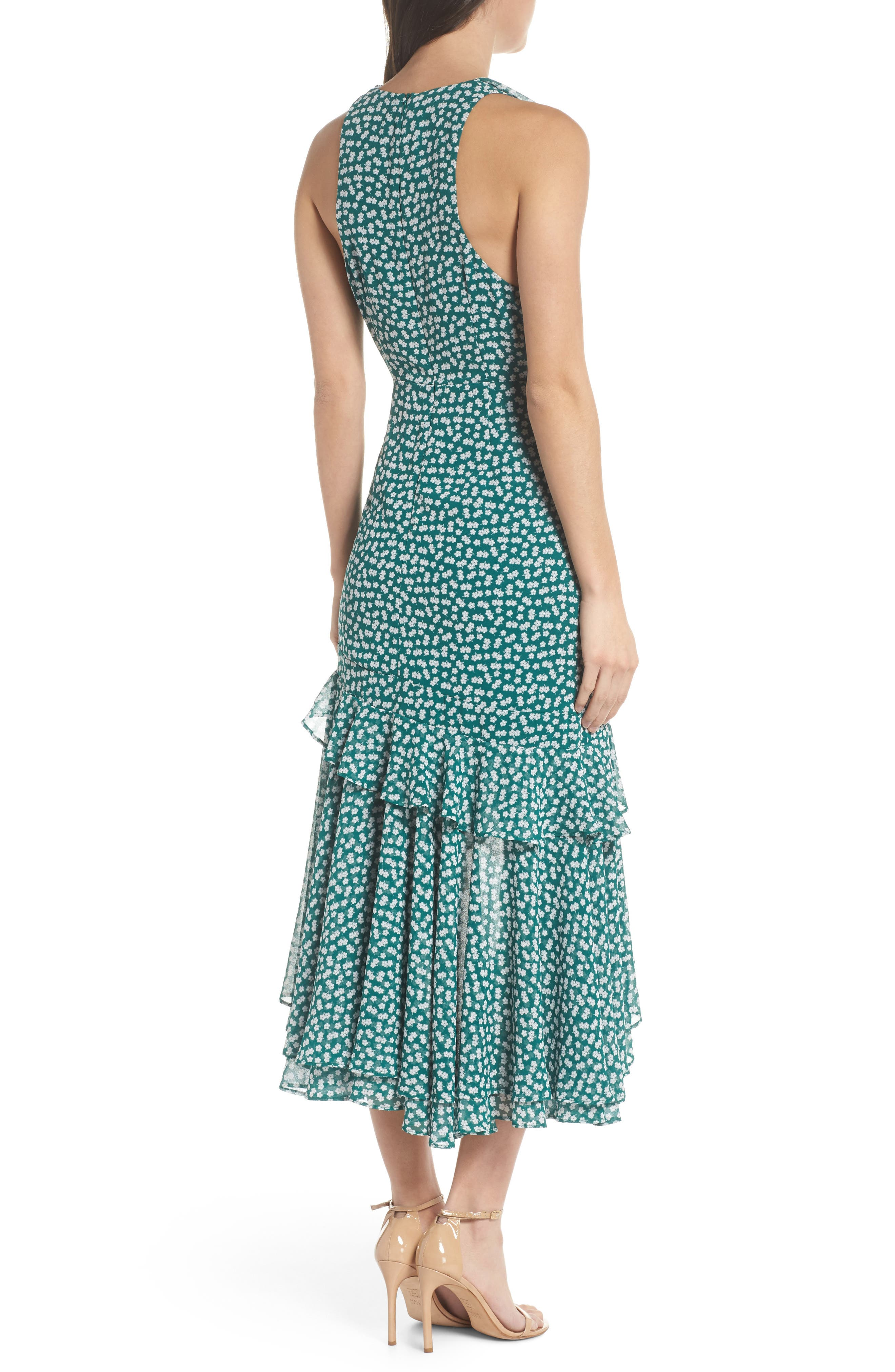 Be About You Ruffle Midi Dress,                             Alternate thumbnail 2, color,                             Green Daisy