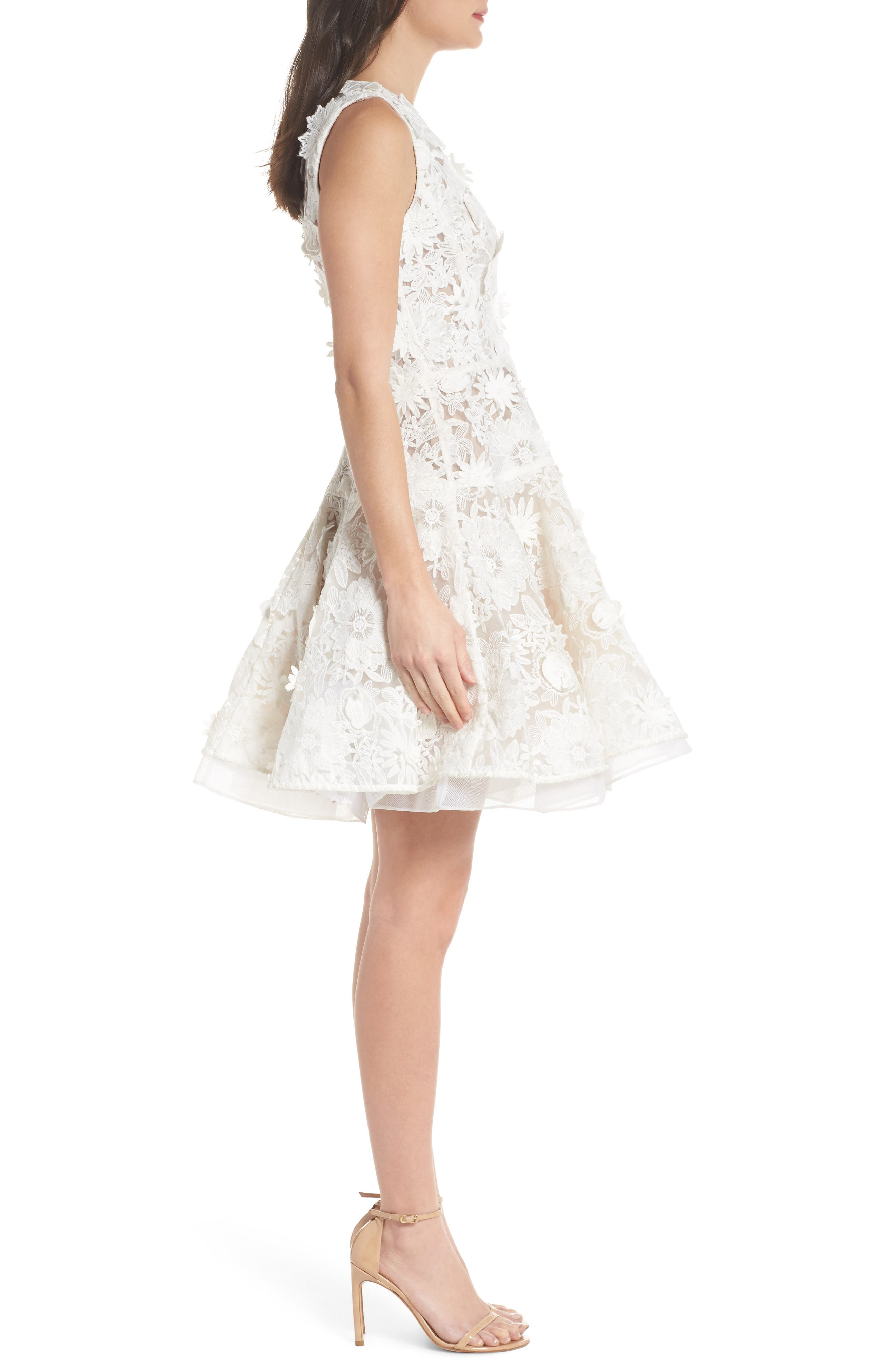 Mila Lace Fit & Flare Dress,                             Alternate thumbnail 3, color,                             White