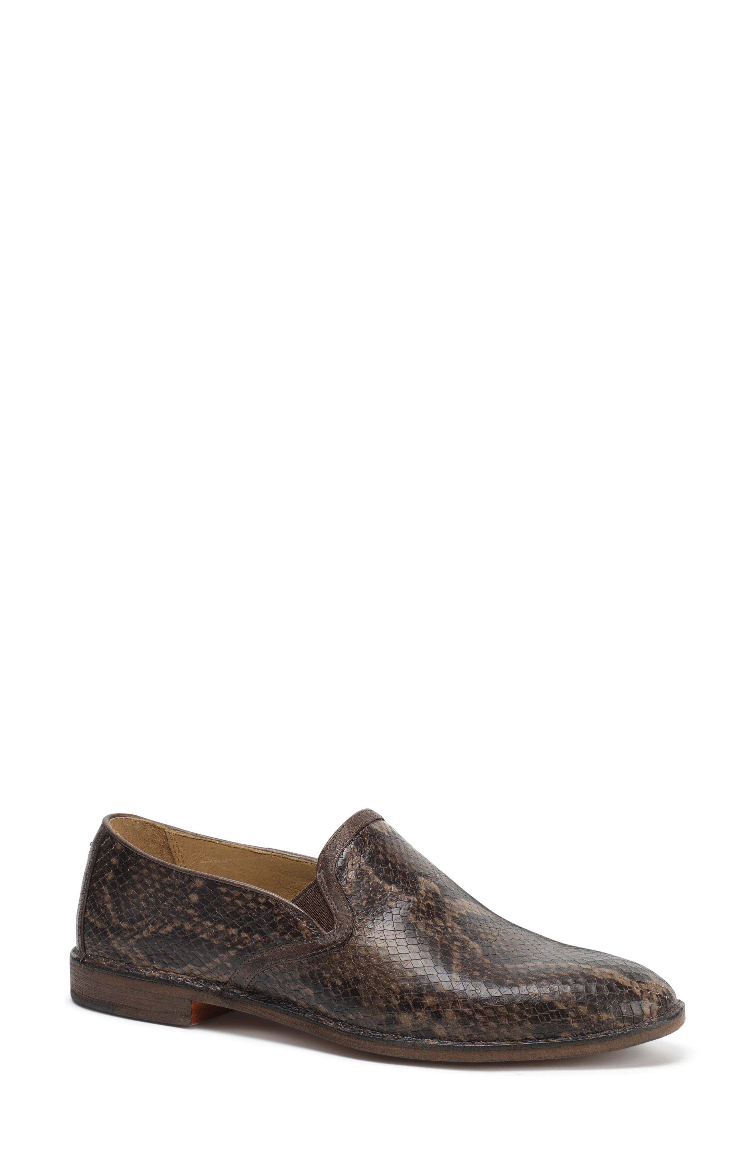 'Ali' Flat,                             Main thumbnail 1, color,                             Brown Print Leather