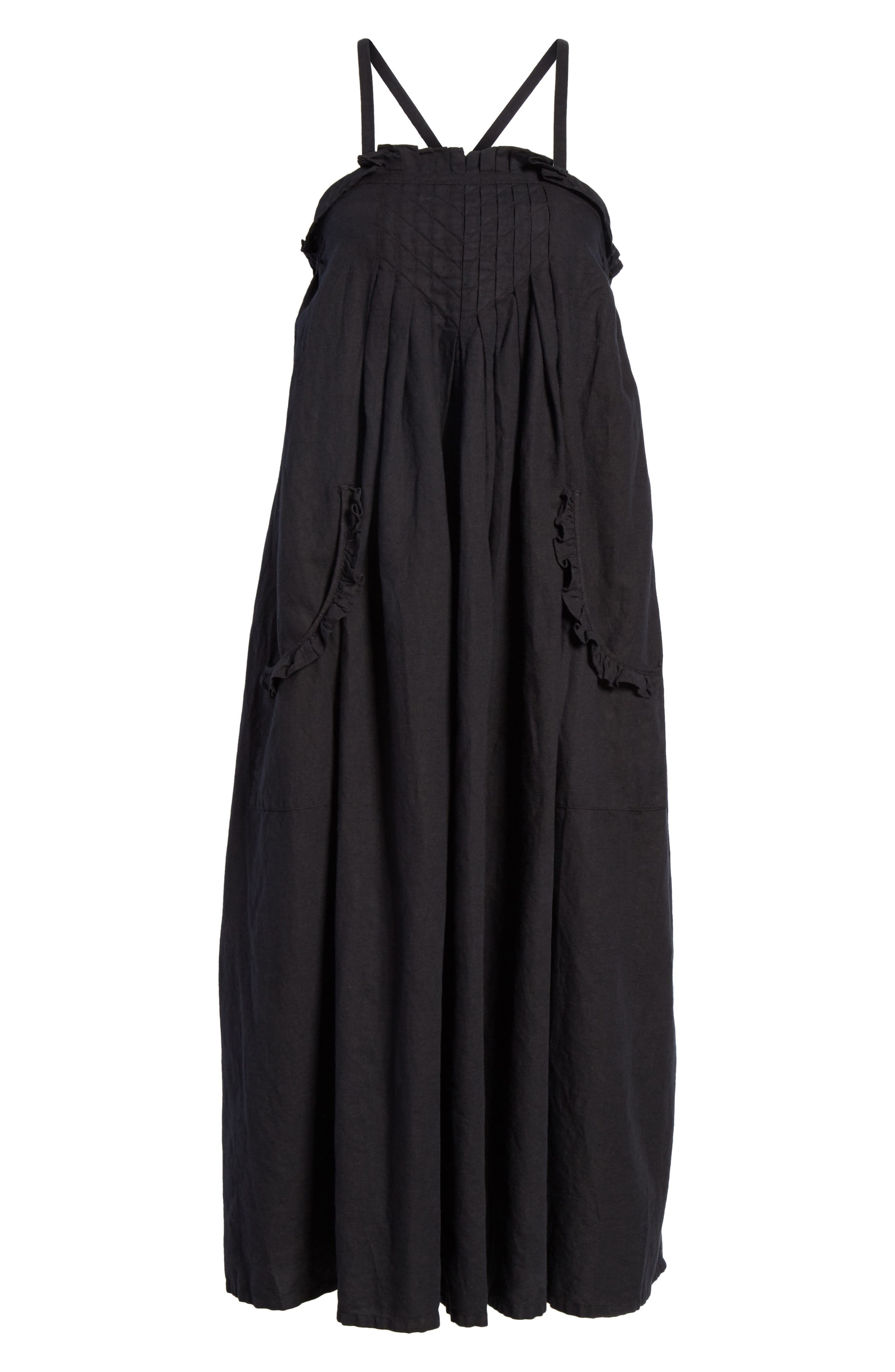 The Tulip Linen & Cotton Dress,                             Alternate thumbnail 7, color,                             Black