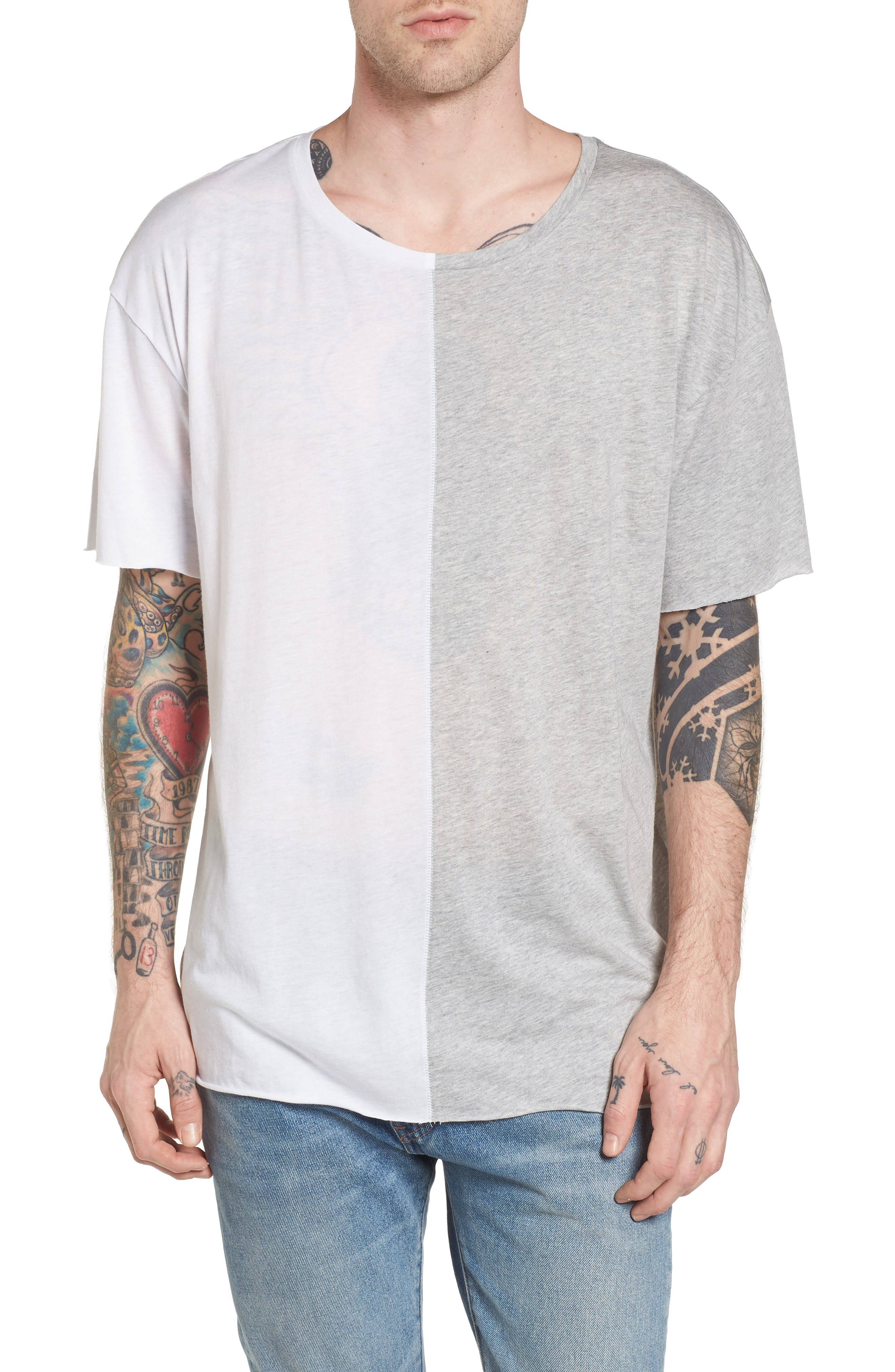 Boxy Splice T-Shirt,                             Main thumbnail 1, color,                             White/ Grey Heather
