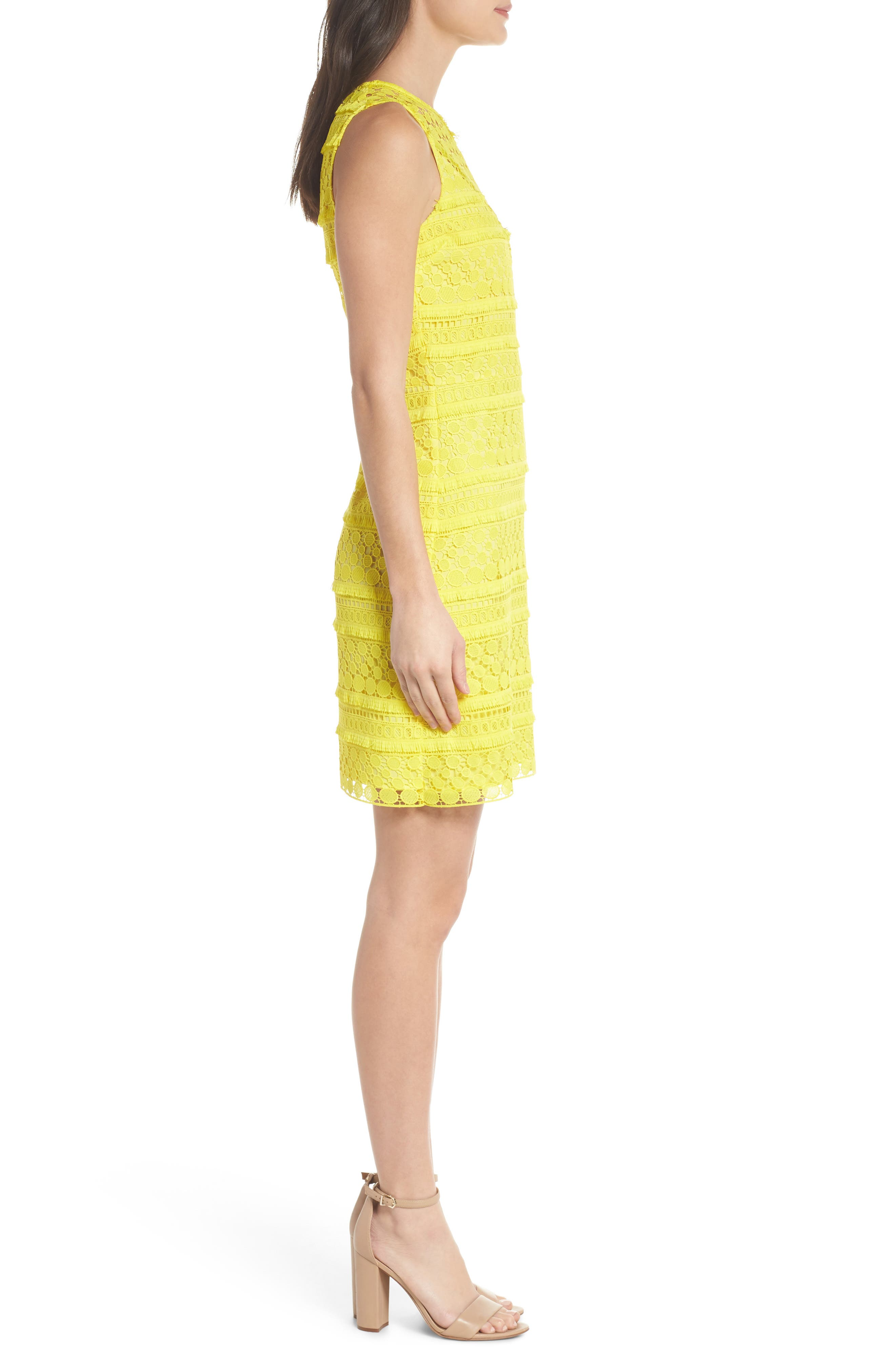 Lace Sheath Dress,                             Alternate thumbnail 3, color,                             Yellow