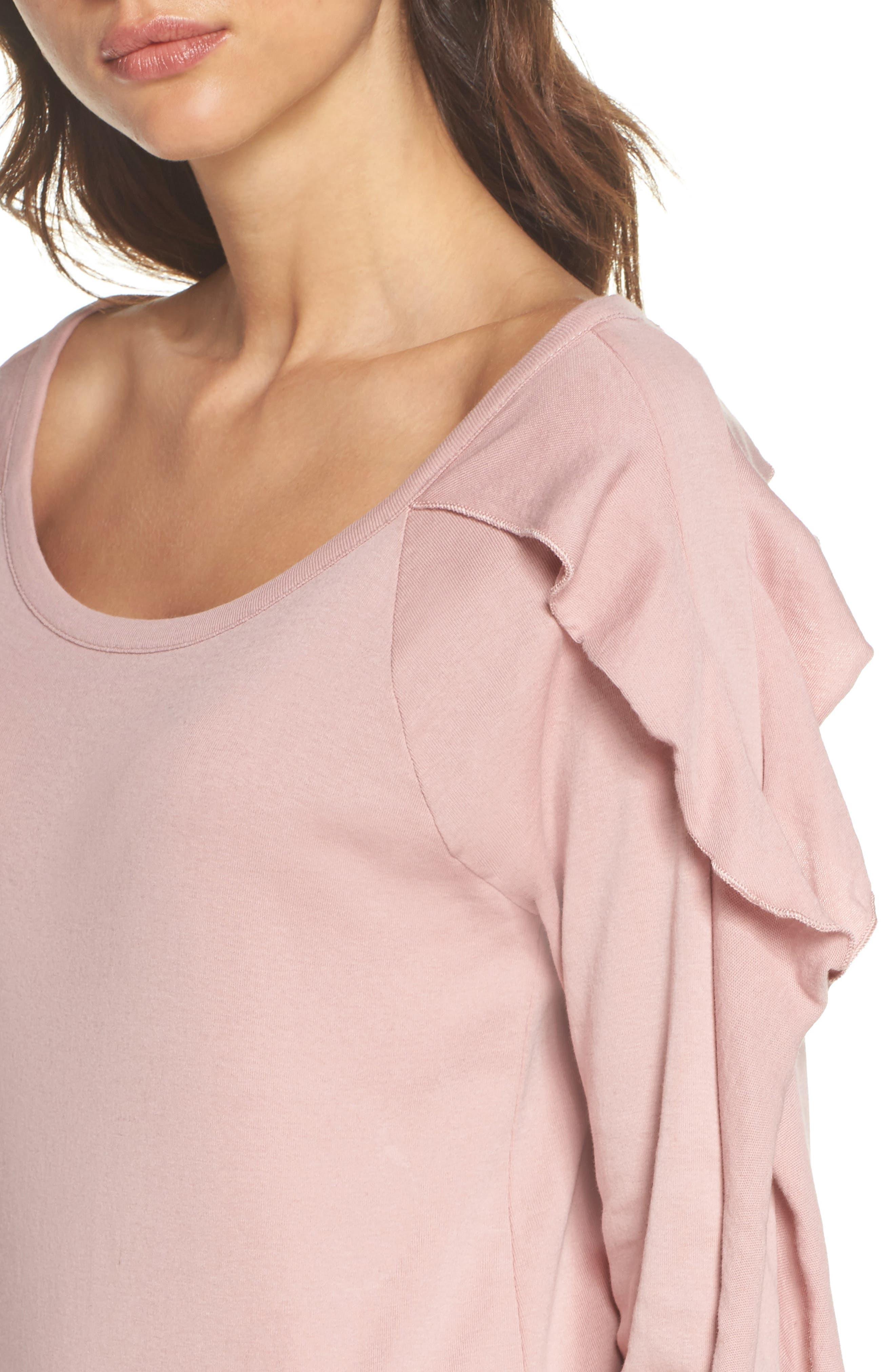 Ruffle Sleeve Sweatshirt,                             Alternate thumbnail 5, color,                             Antique Rose
