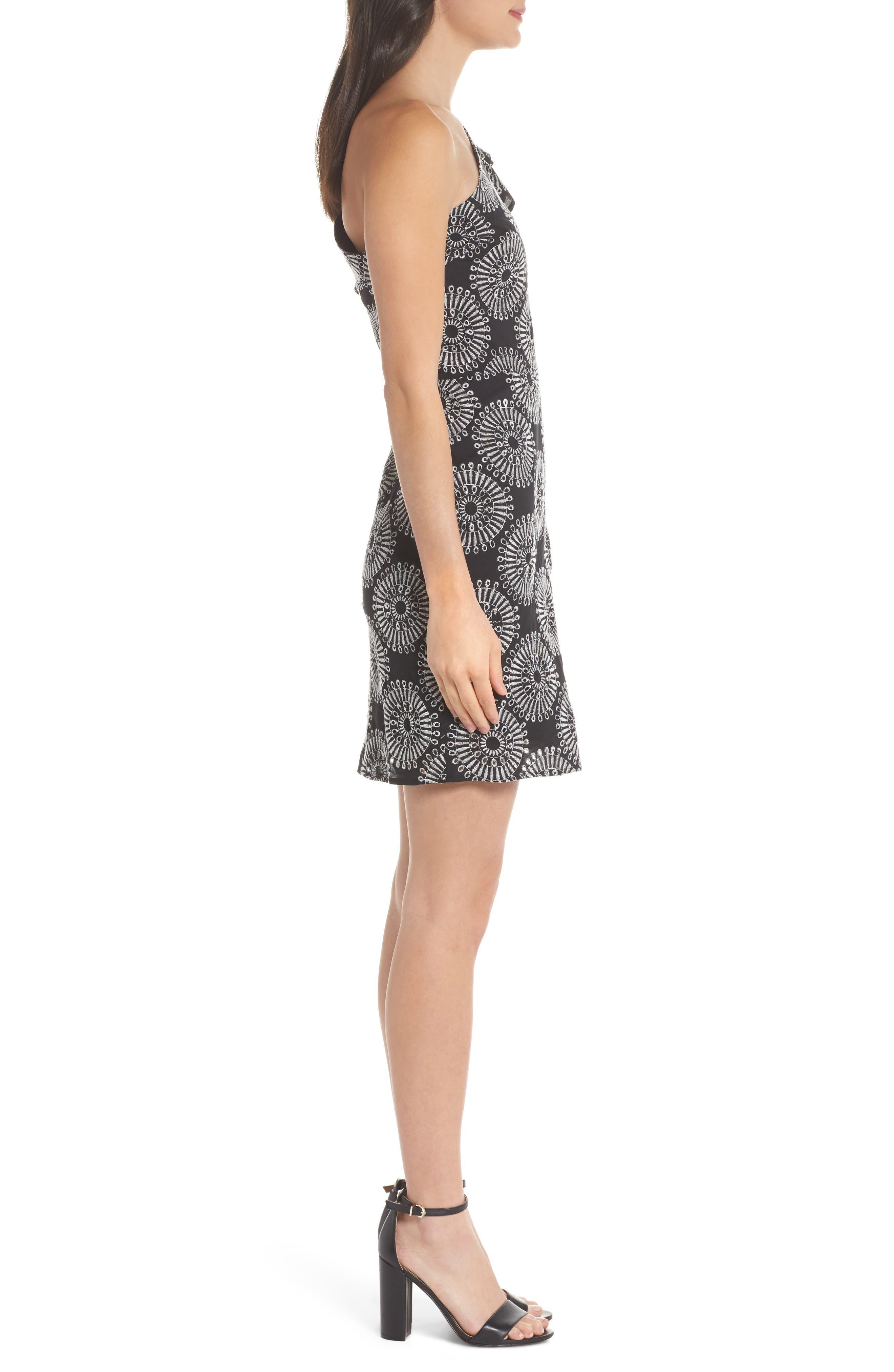 Embroidered One-Shoulder Sheath Dress,                             Alternate thumbnail 3, color,                             Black/ White