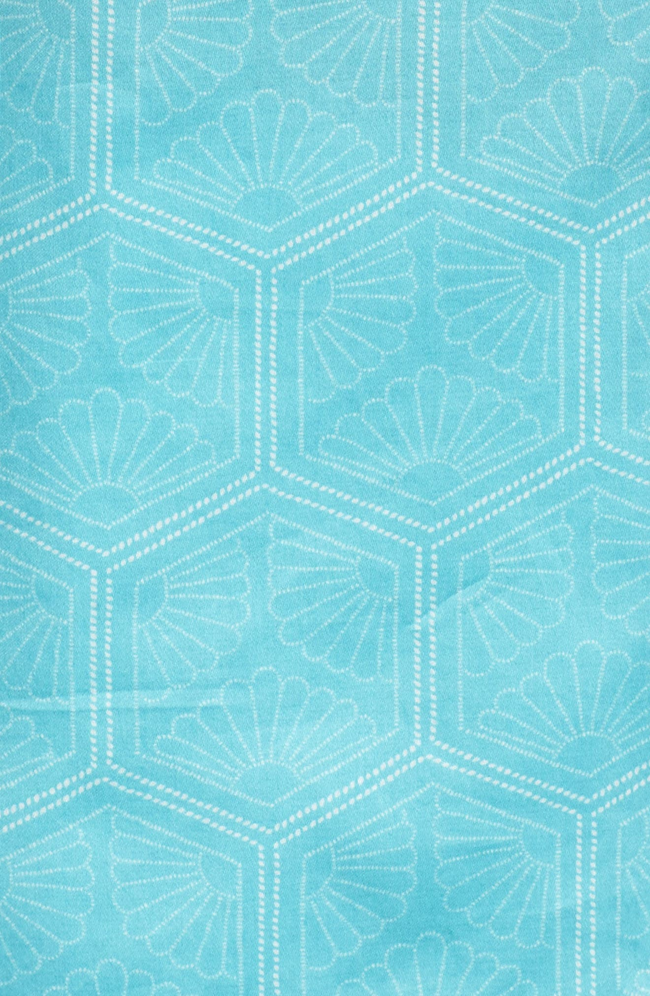 Fan Print Cotton Pajamas,                             Alternate thumbnail 6, color,                             Sea Glass