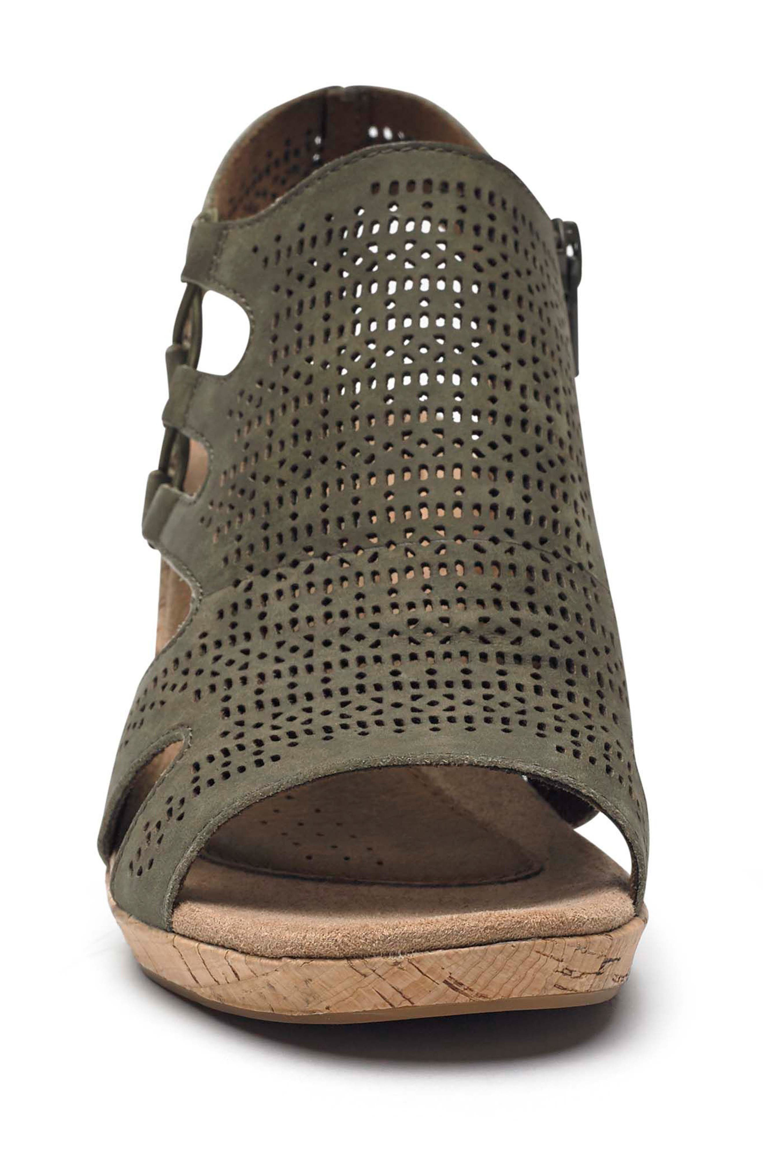 Janna Perforated Wedge Sandal,                             Alternate thumbnail 4, color,                             Green Nubuck Leather
