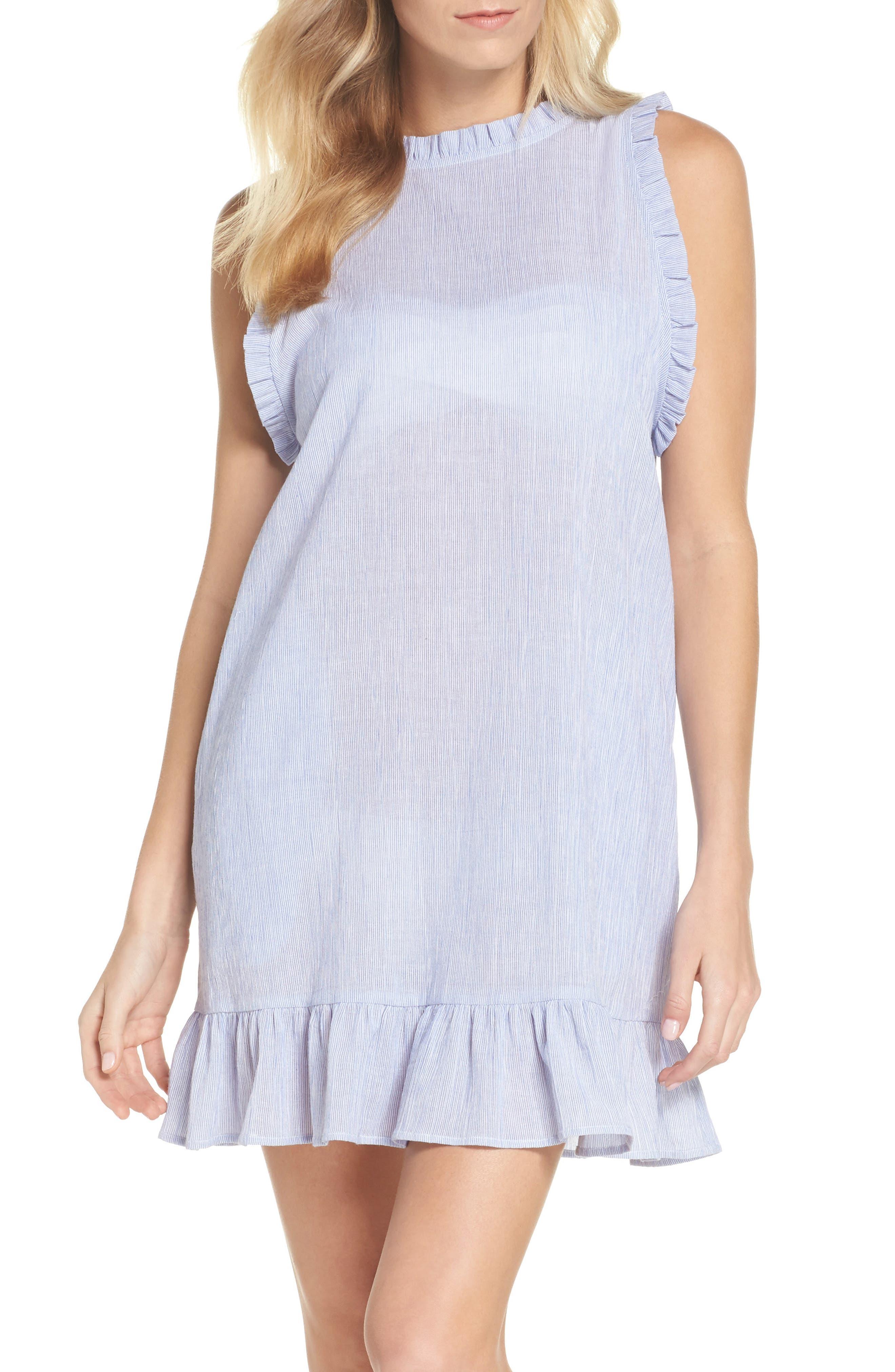 Heidi Cover-Up Dress,                             Main thumbnail 1, color,                             Blue/ White
