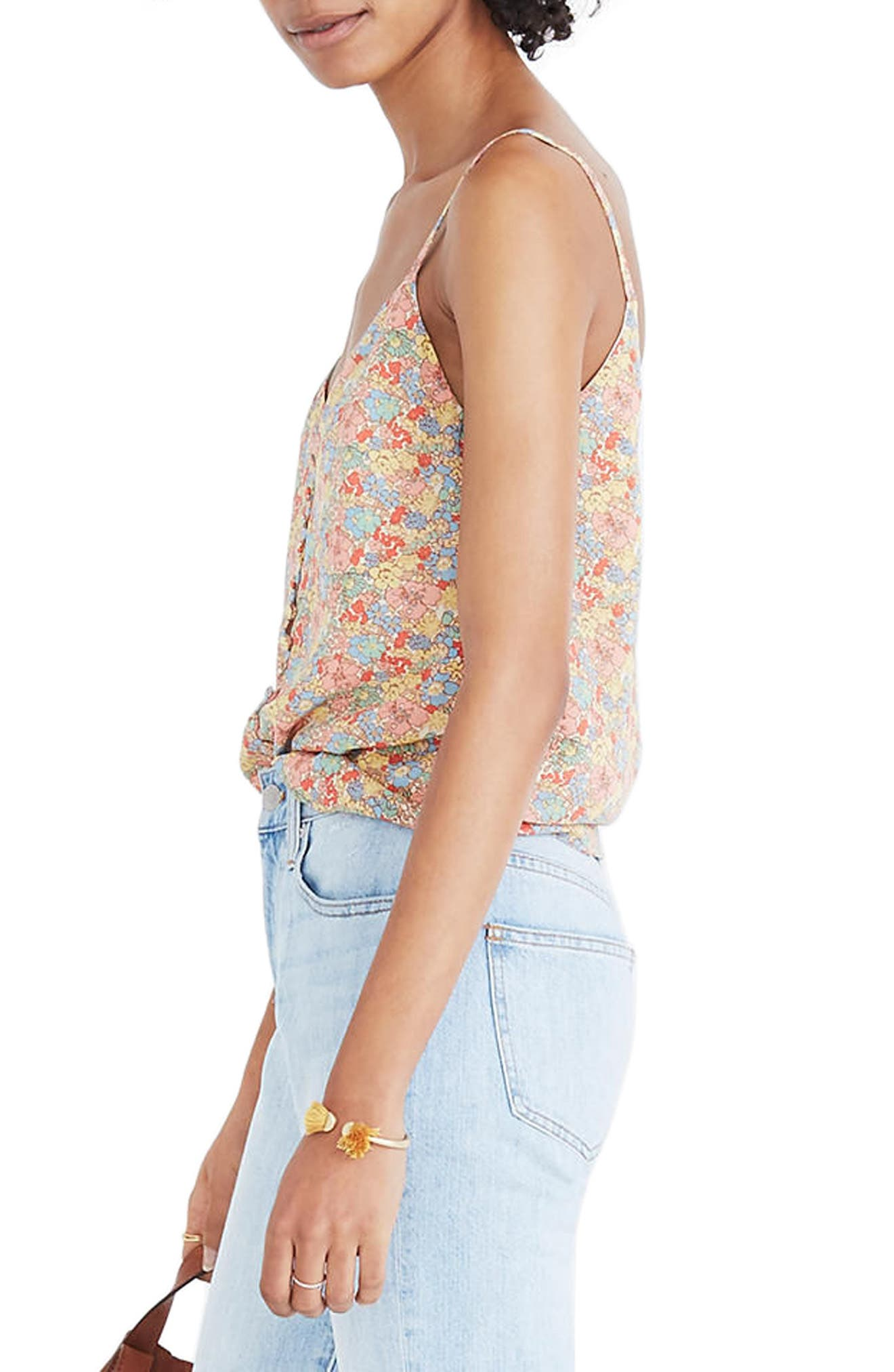 Floral Button Down Silk Camisole,                             Alternate thumbnail 3, color,                             Woodland Light Nectar