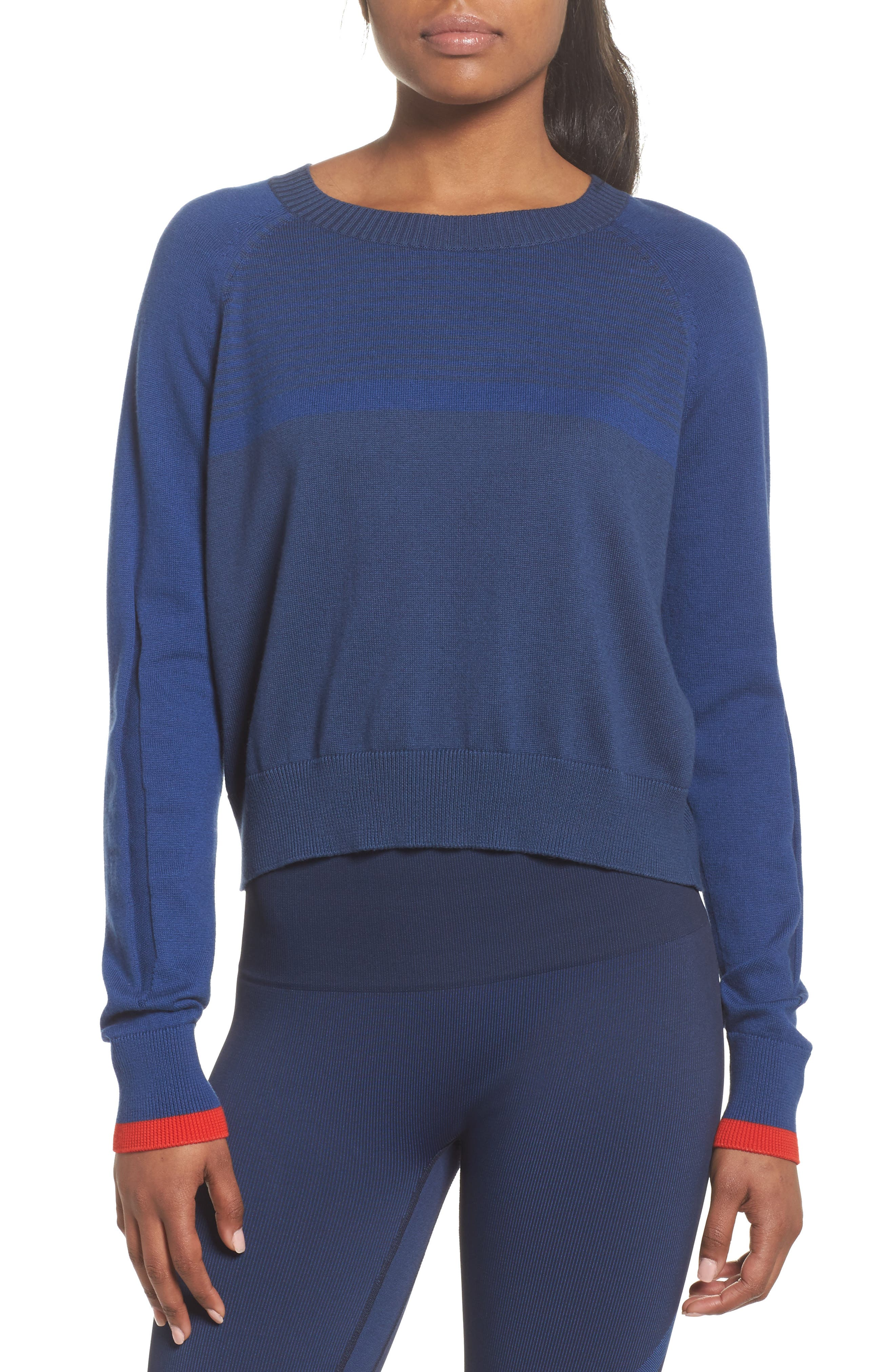 Prism Cropped Sweater,                             Main thumbnail 1, color,                             Blue