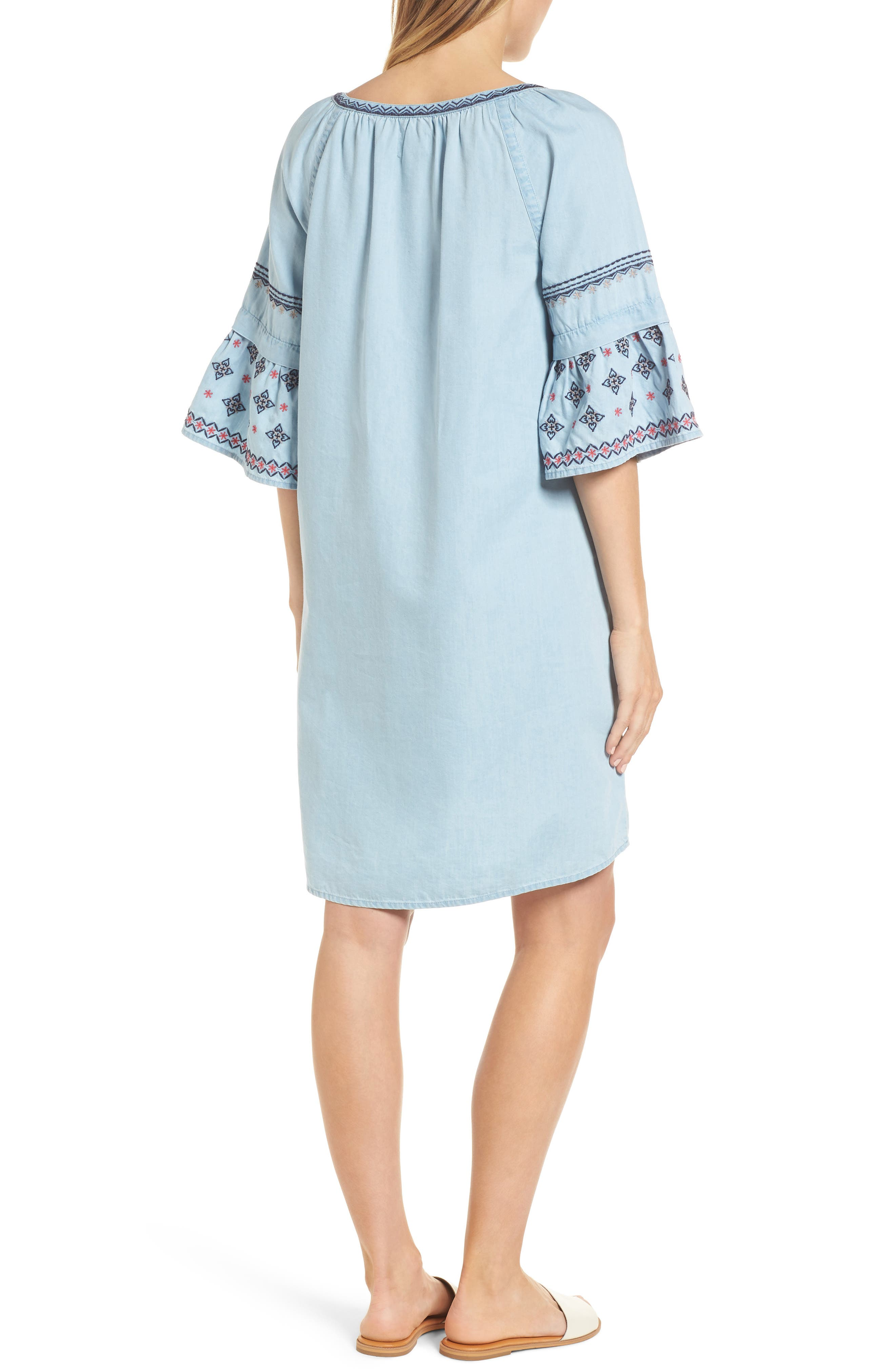Embroidered Chambray Shift,                             Alternate thumbnail 2, color,                             Spectrum Wash