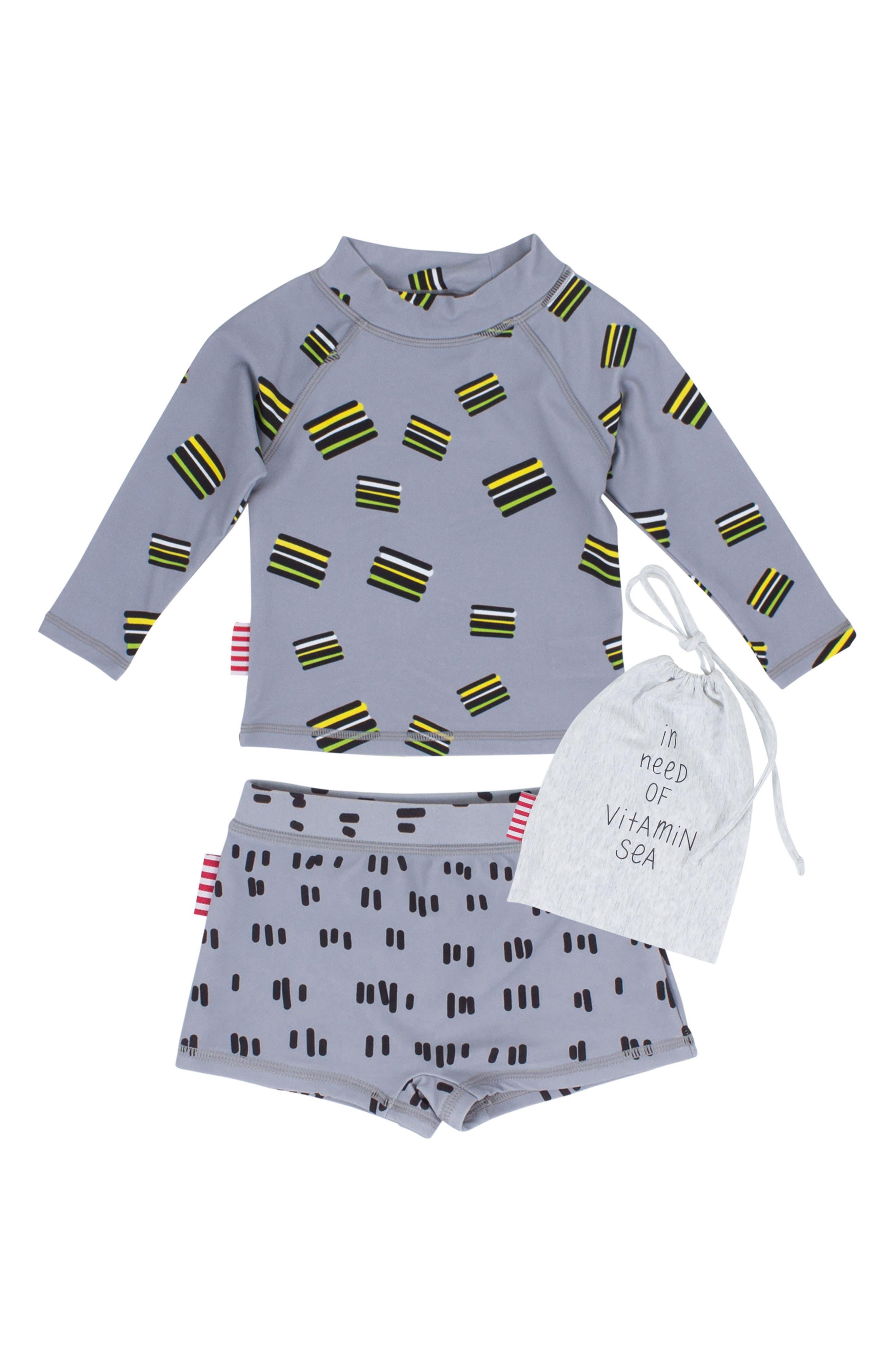 SOOKIbaby Licorice Two-Piece Rashguard Swim Suit (Baby Boys & Toddler Boys)