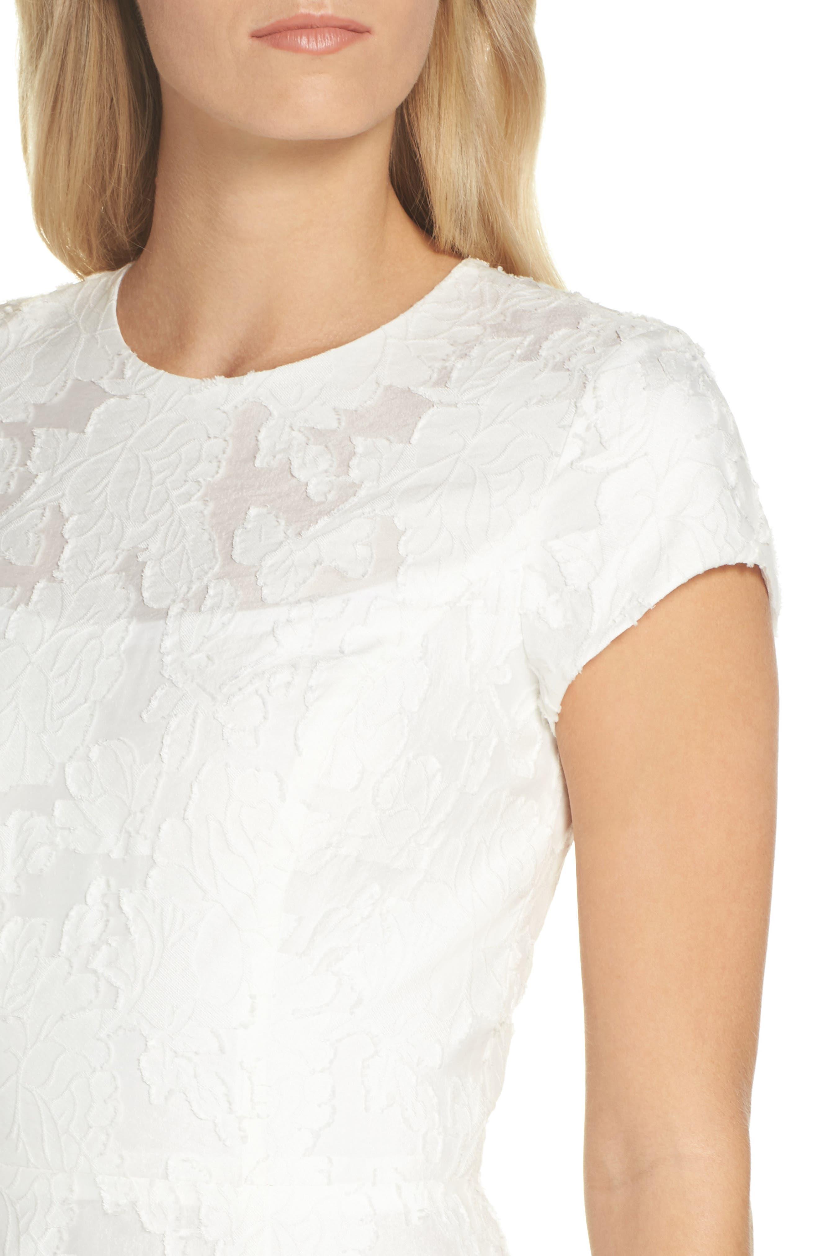 Lace Flare Hem Midi Dress,                             Alternate thumbnail 4, color,                             White
