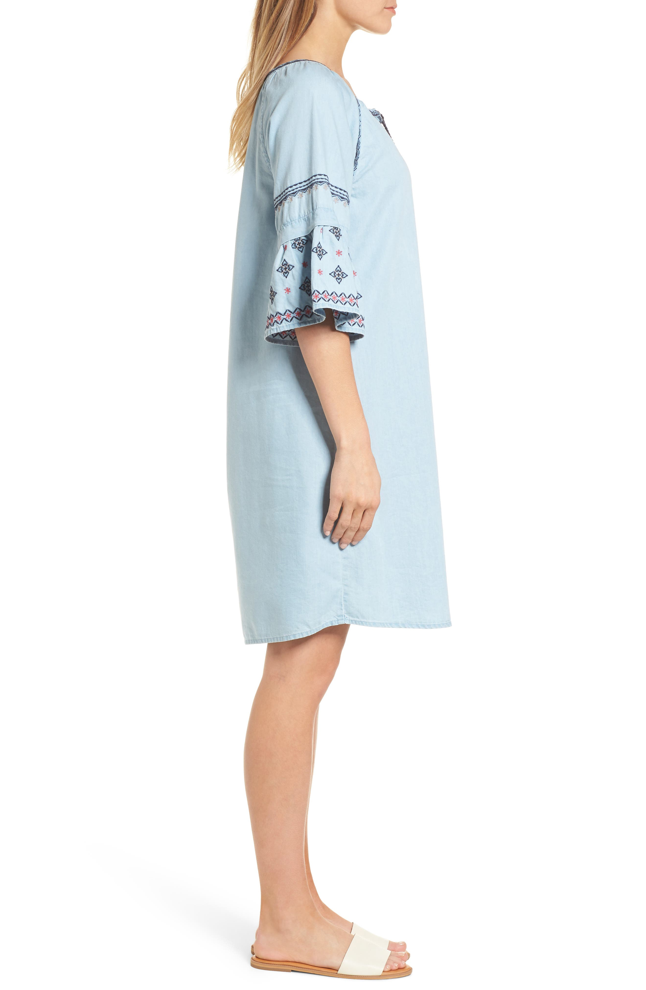 Embroidered Chambray Shift,                             Alternate thumbnail 3, color,                             Spectrum Wash