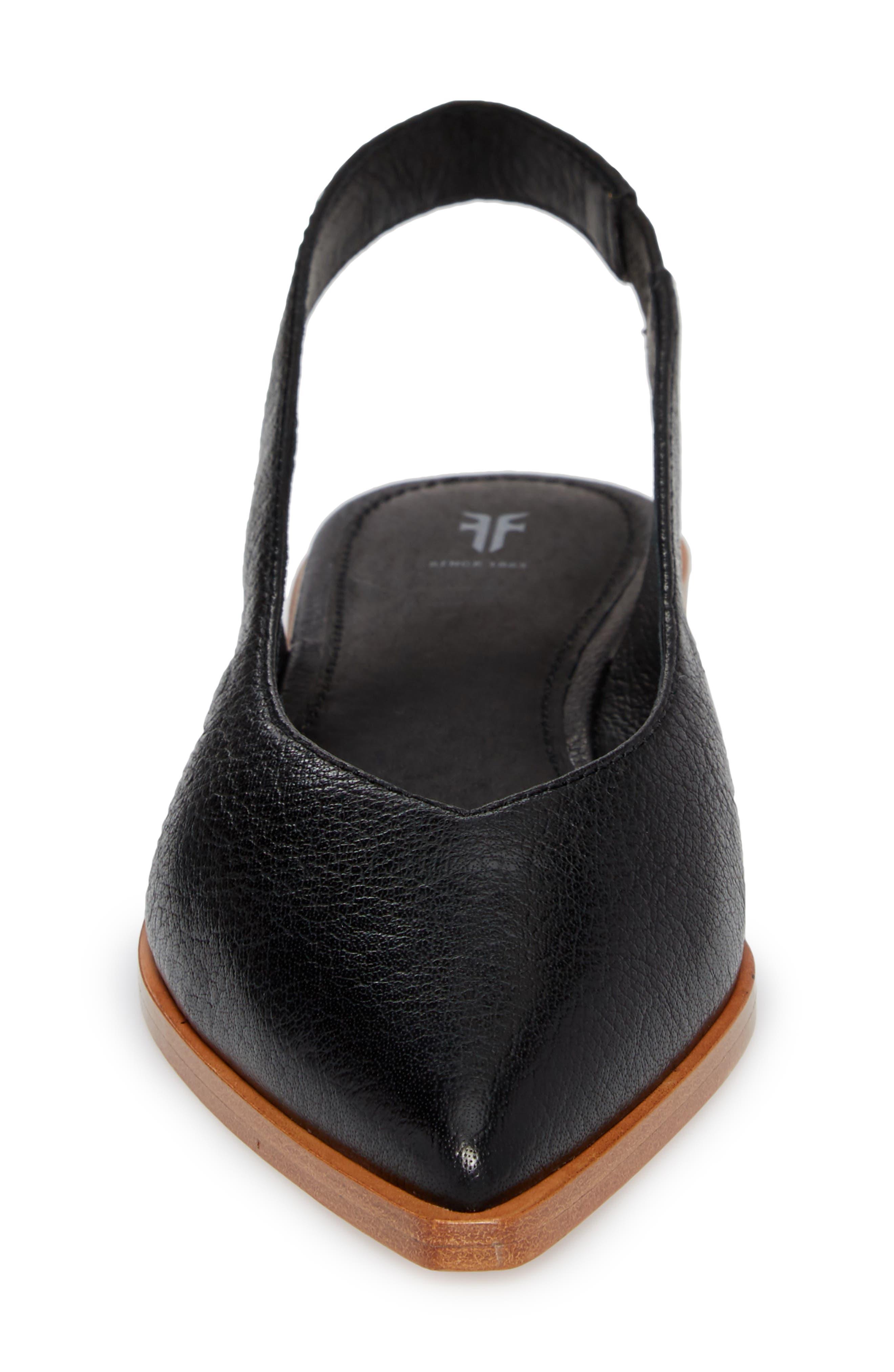 Kenzie Slingback Flat,                             Alternate thumbnail 4, color,                             Black Leather