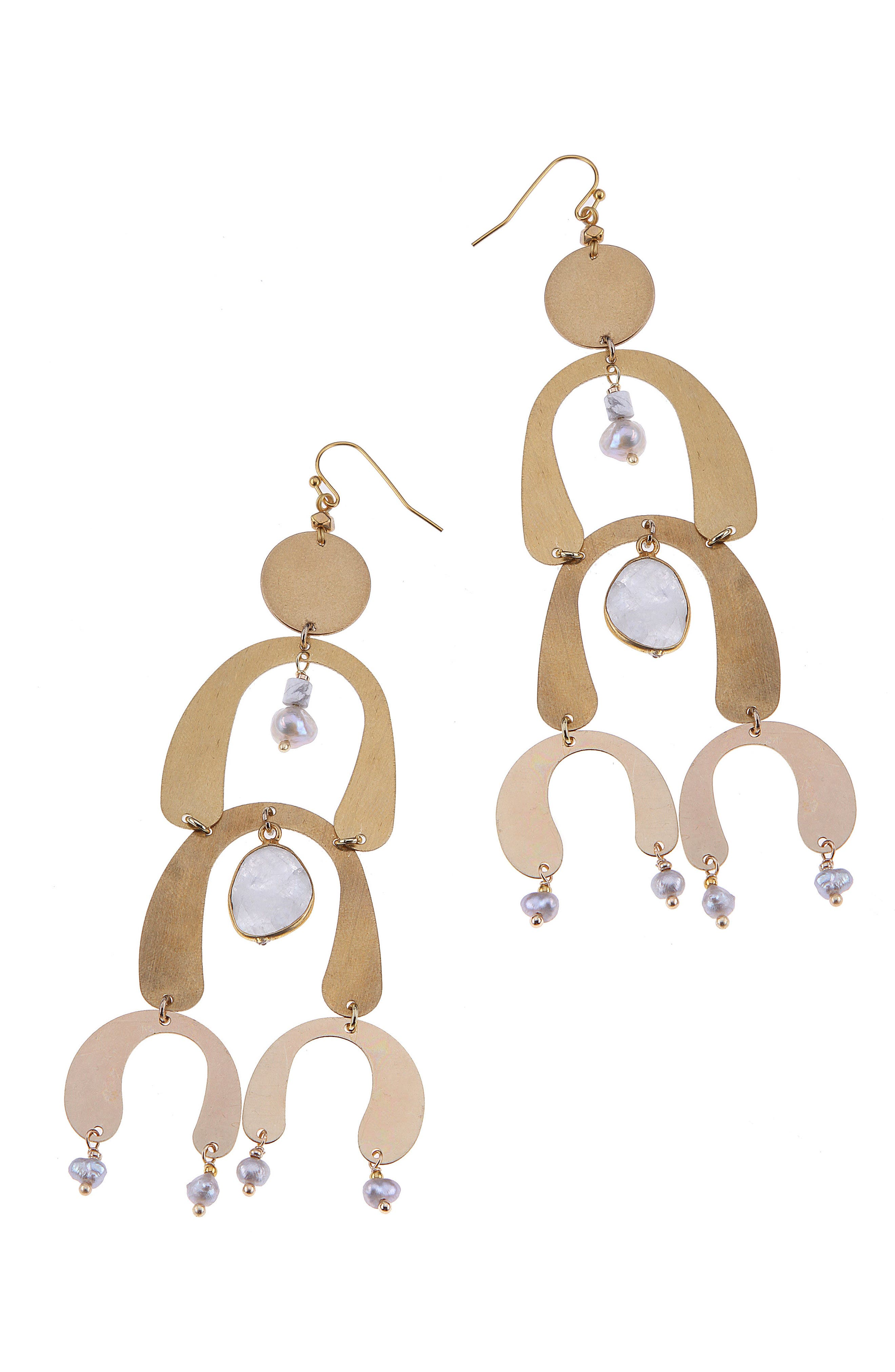 Brass Arch Moonstone & Freshwater Pearl Statement Earrings,                             Main thumbnail 1, color,                             White