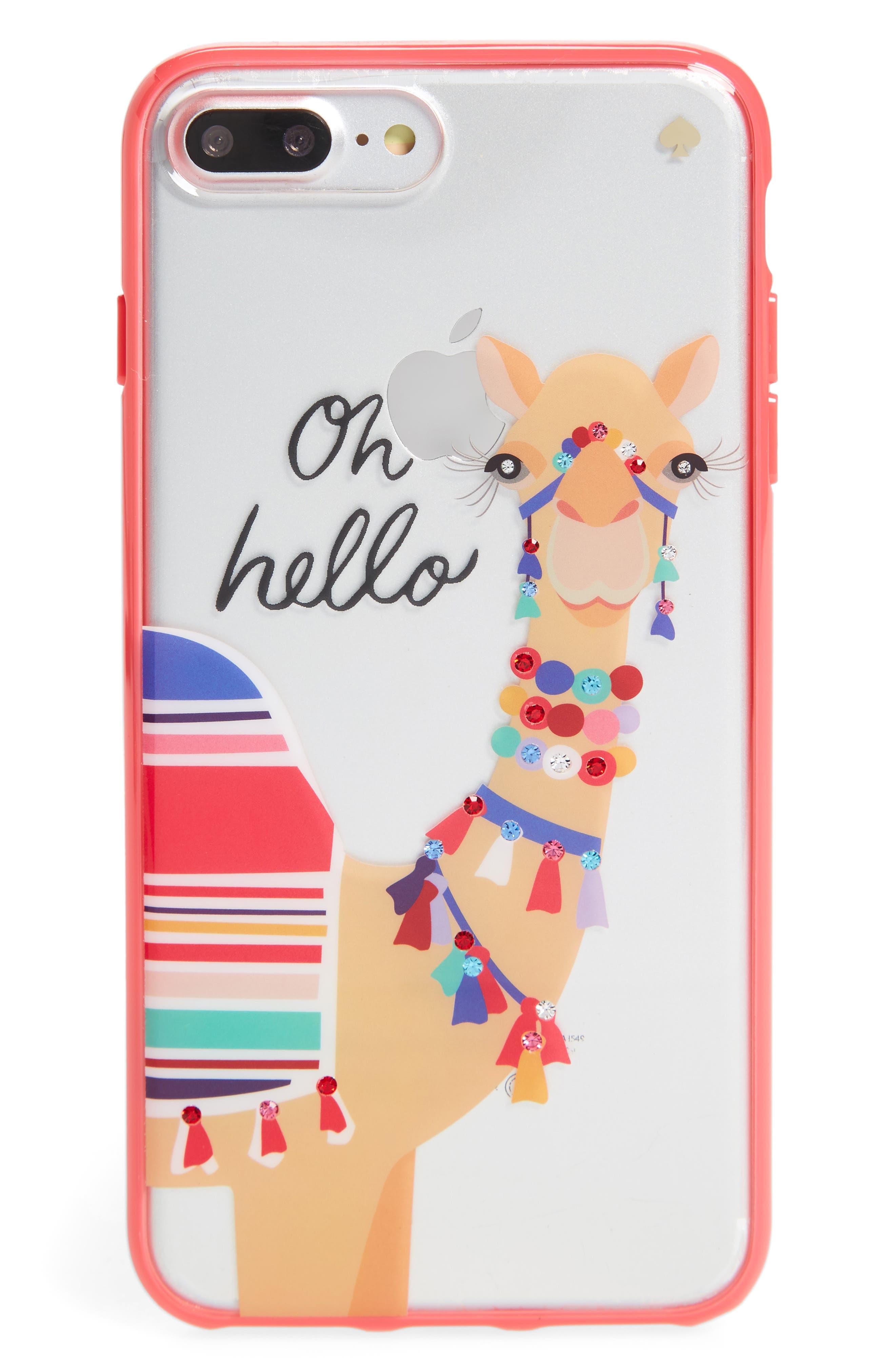 jeweled camel transparent iPhone 7/8 & 7/8 Plus case,                         Main,                         color, Multi