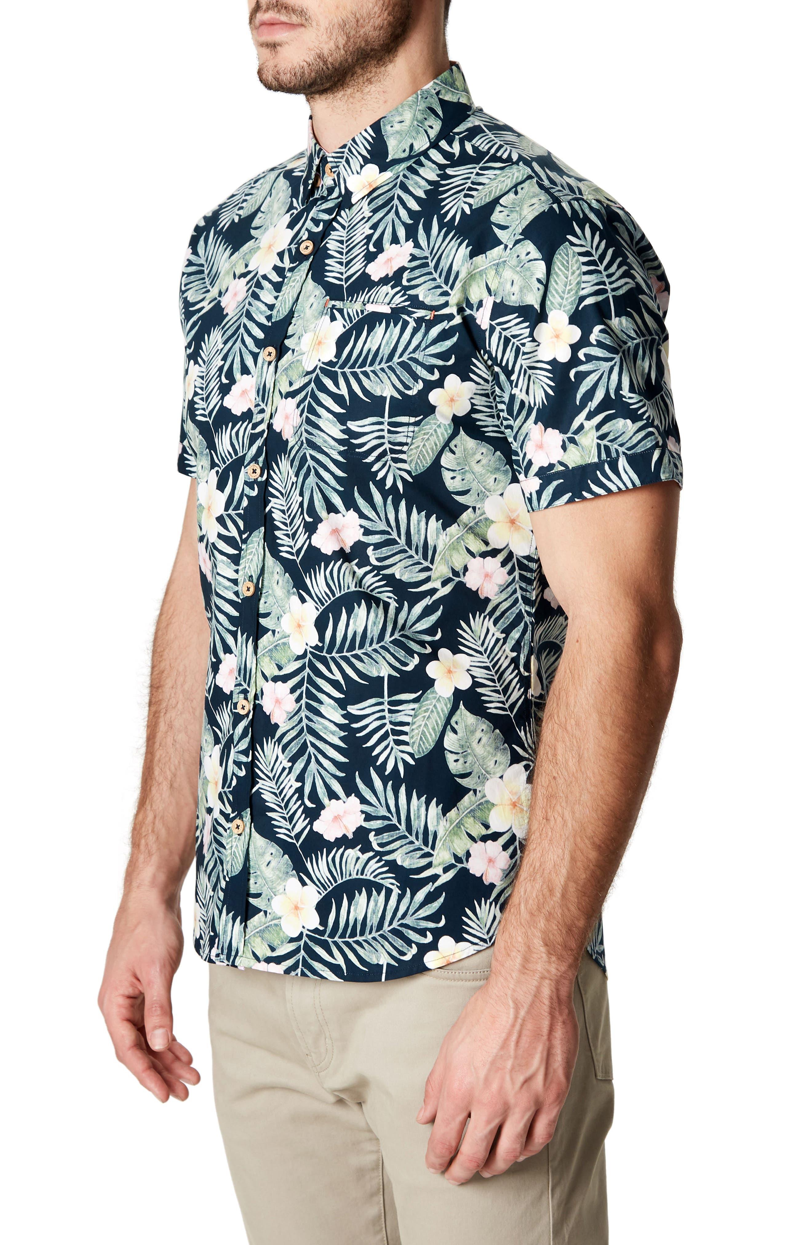 Zanzibar Trim Fit Short Sleeve Sport Shirt,                             Alternate thumbnail 3, color,                             Black