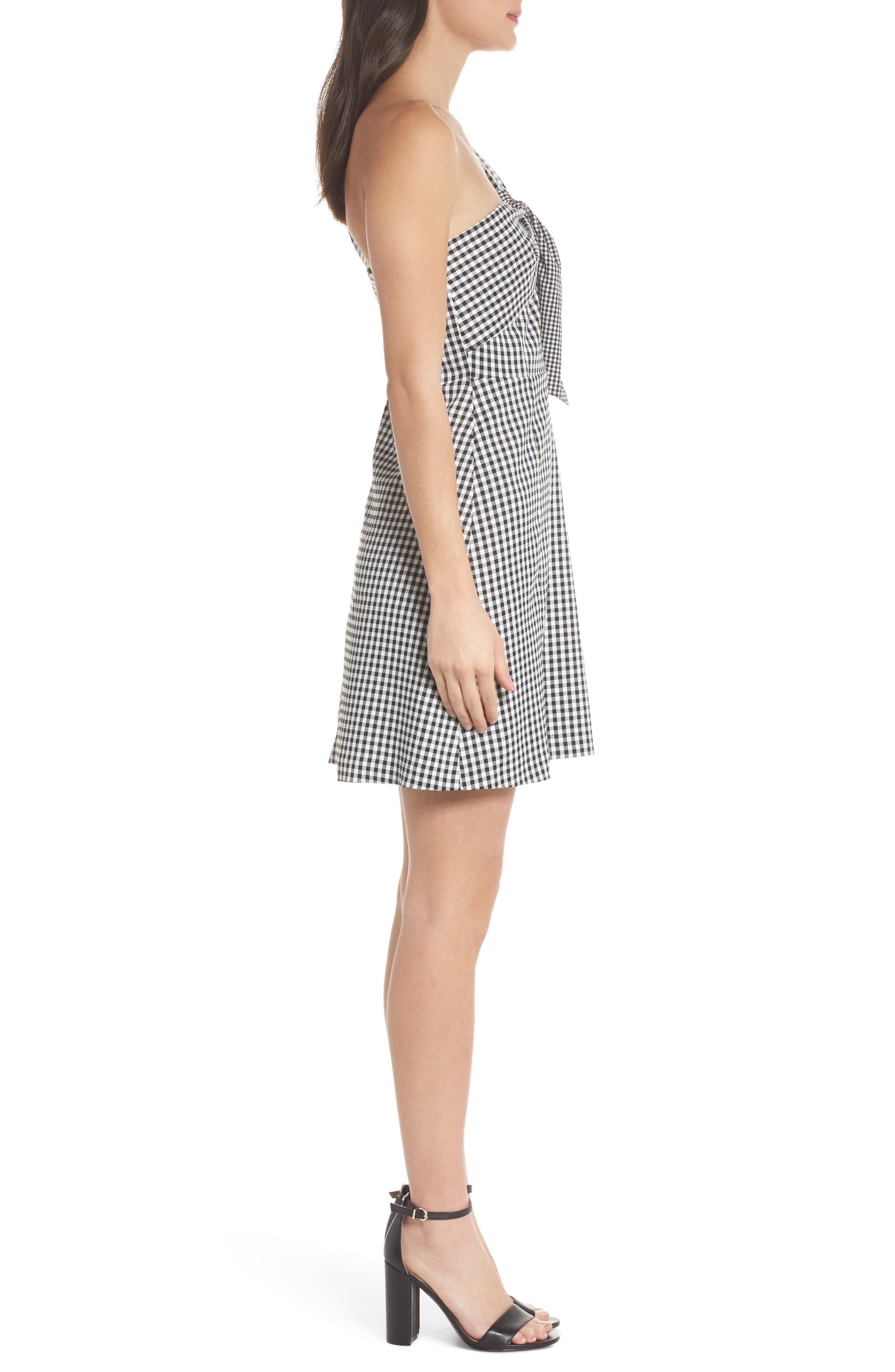 One-Shoulder Gingham Dress,                             Alternate thumbnail 3, color,                             Black/ White