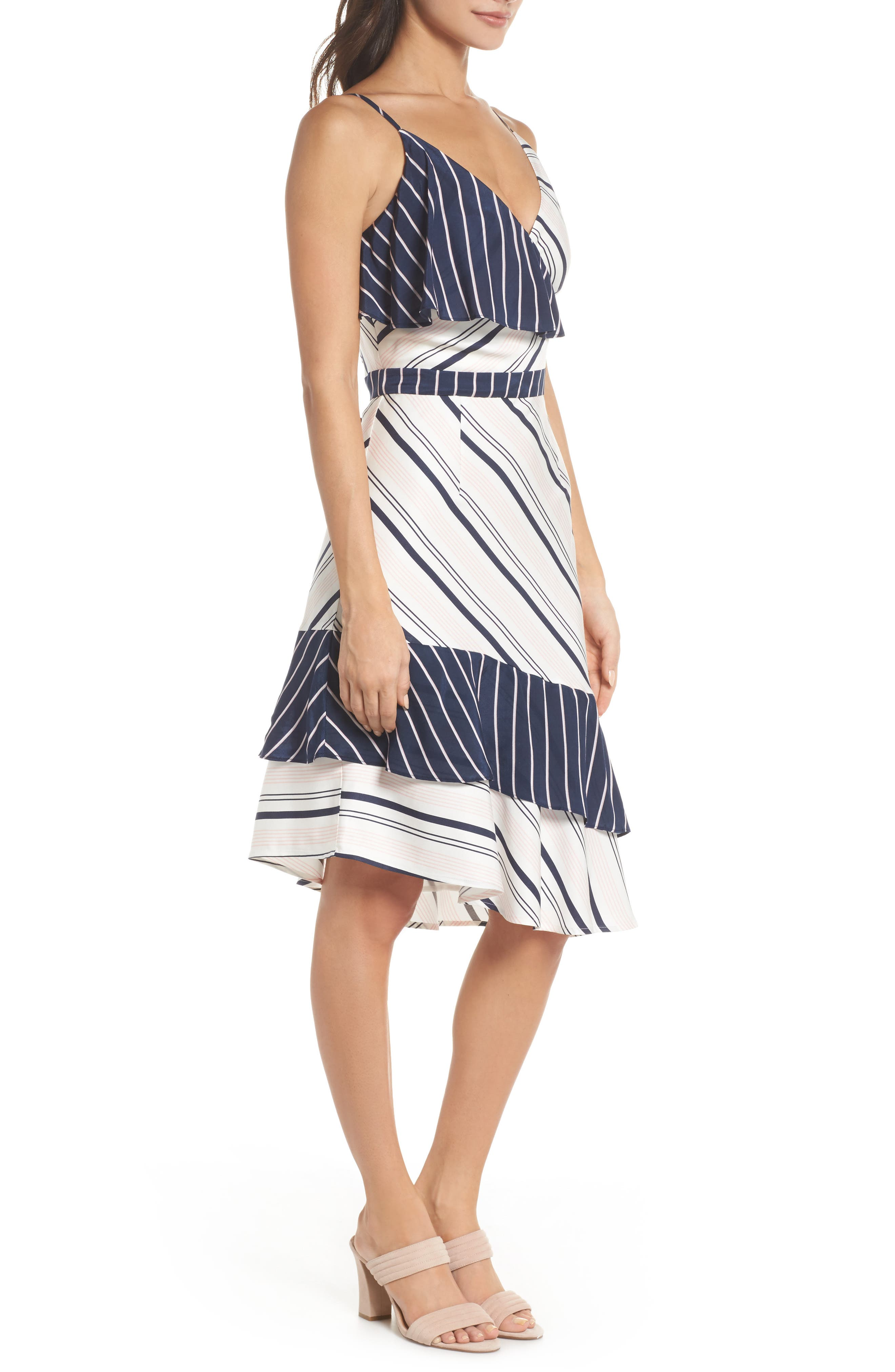 Mix Stripe Asymmetrical Dress,                             Alternate thumbnail 3, color,                             White/ Navy Miranda Stripe